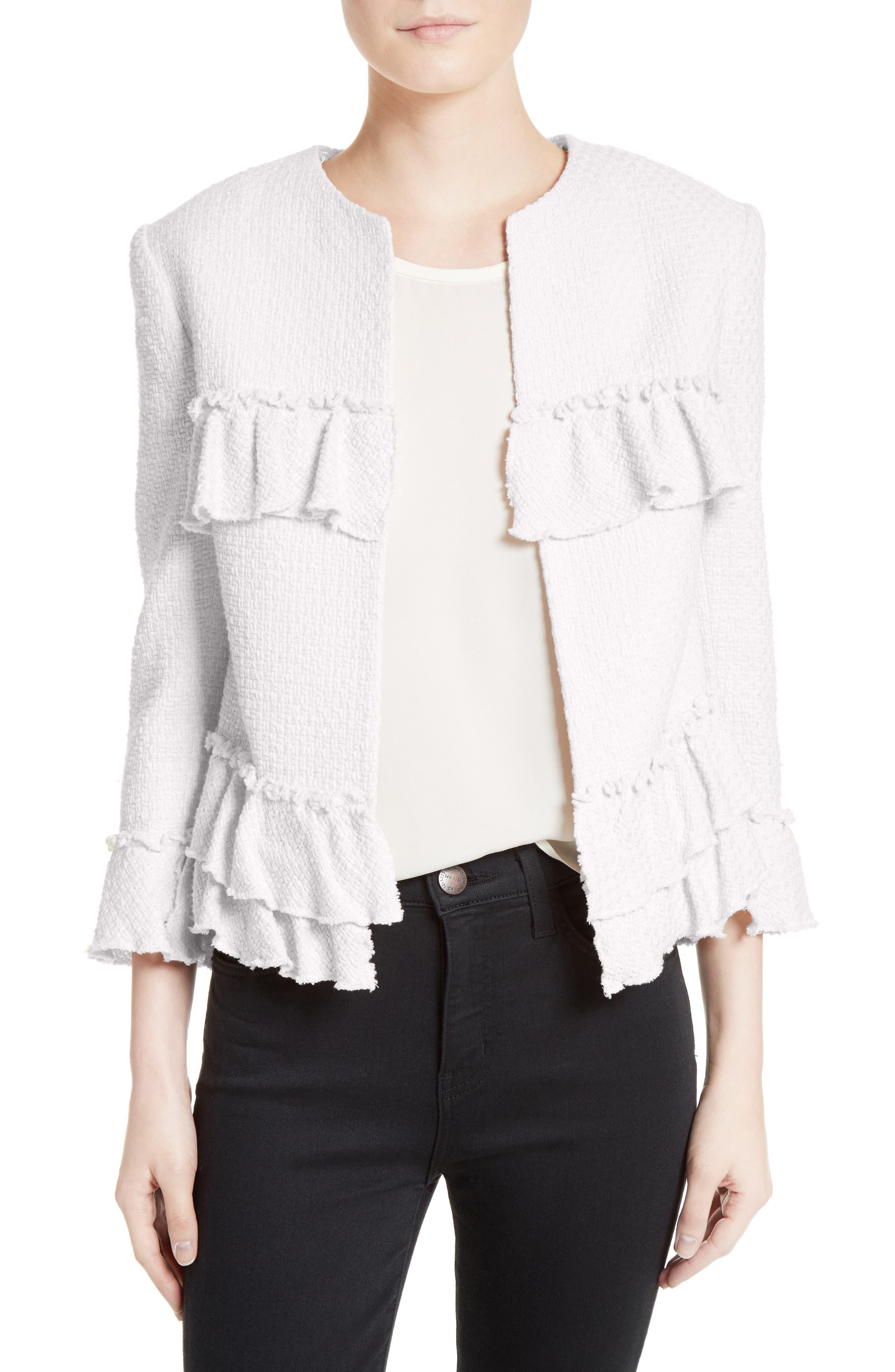 Frill Tweed Jacket,                         Main,                         color, Ivory