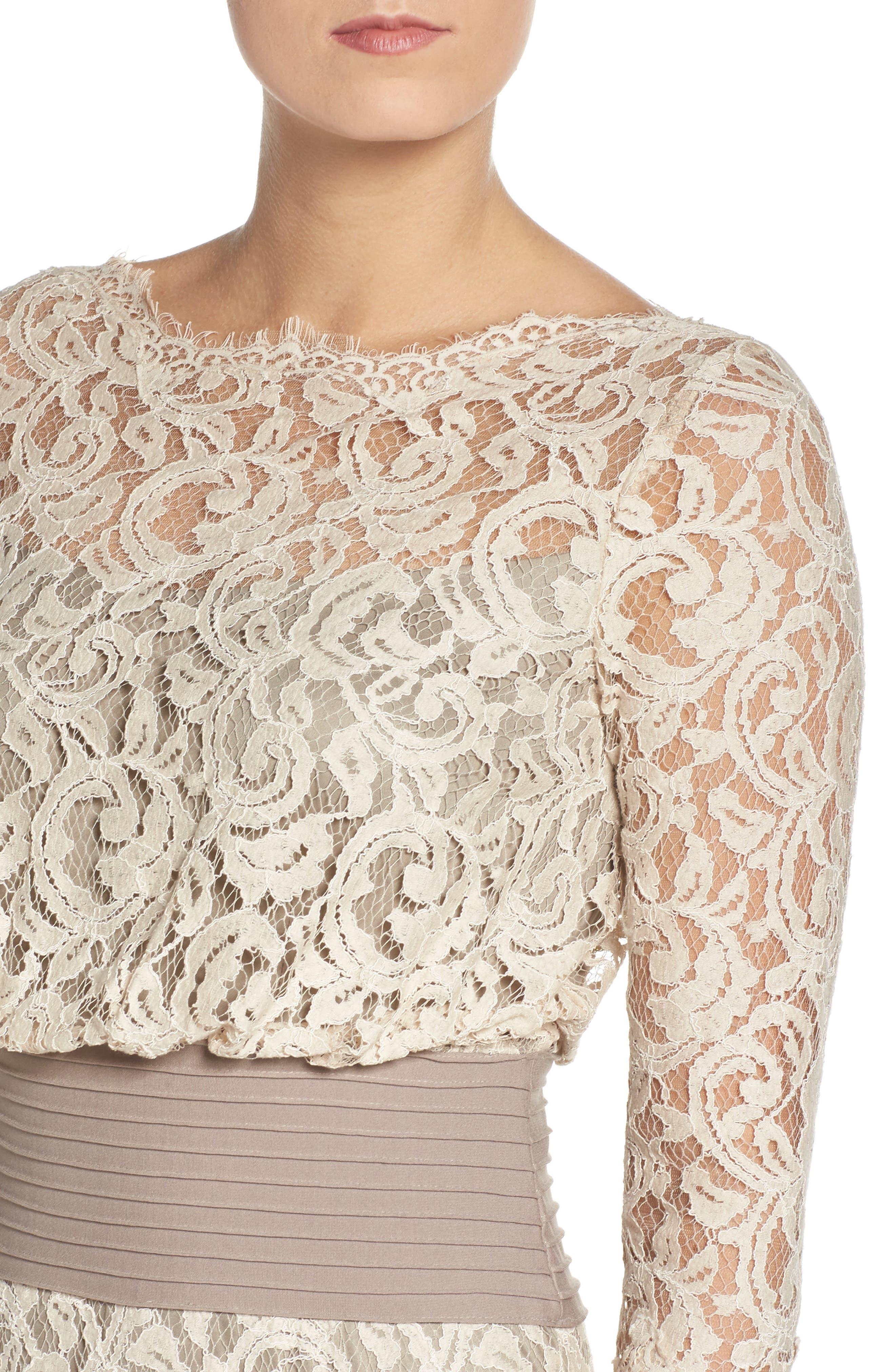 Alternate Image 5  - Tadashi Shoji Pleat Waist Lace Blouson Dress