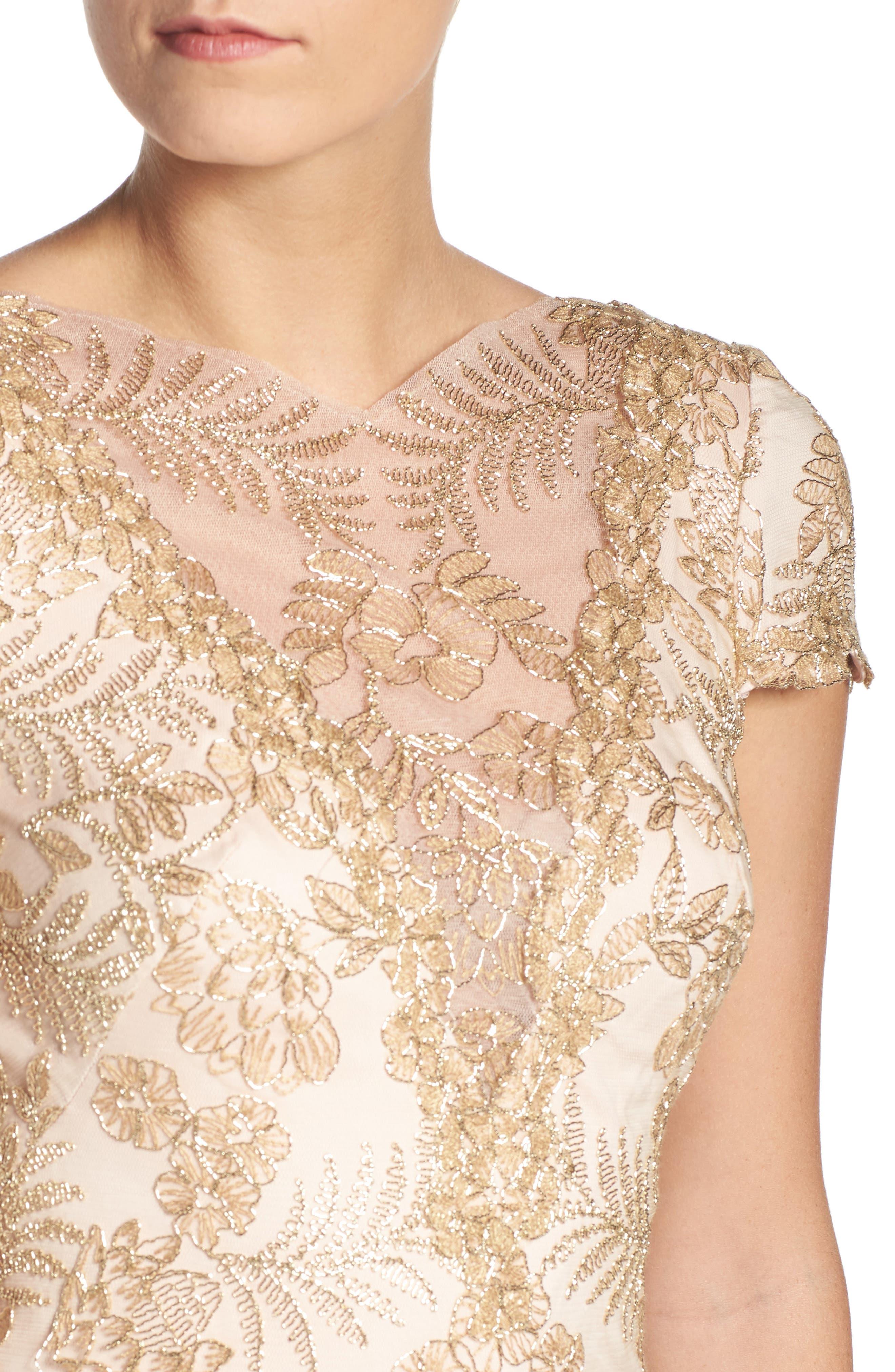 Alternate Image 4  - Tadashi Shoji Embroidered Gown (Regular & Petite)