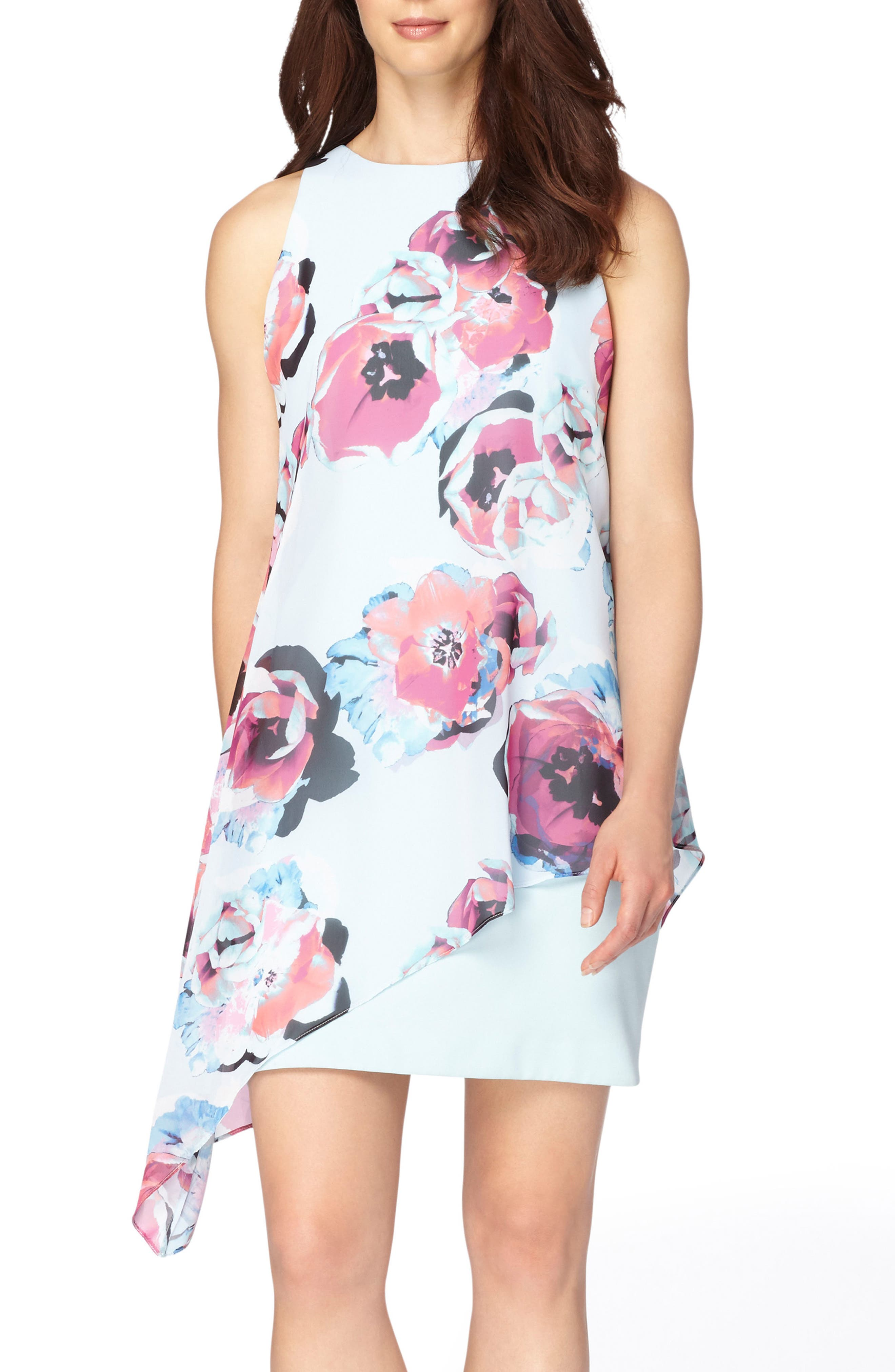 Asymmetrical Chiffon Shift Dress,                             Main thumbnail 1, color,                             Sky/ Fuchsia/ Black