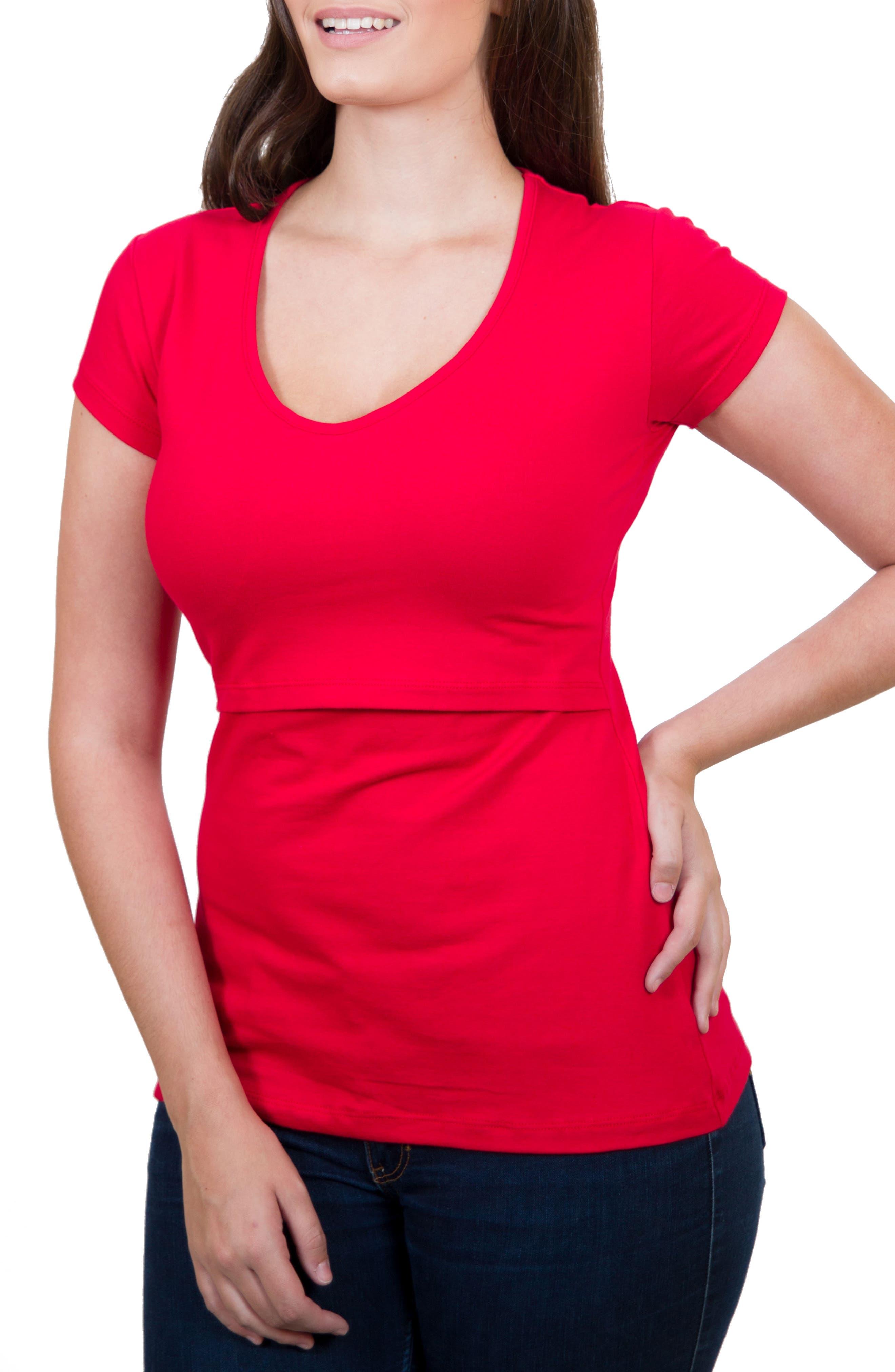 Mamawear V-Neck Nursing Top,                         Main,                         color, Red