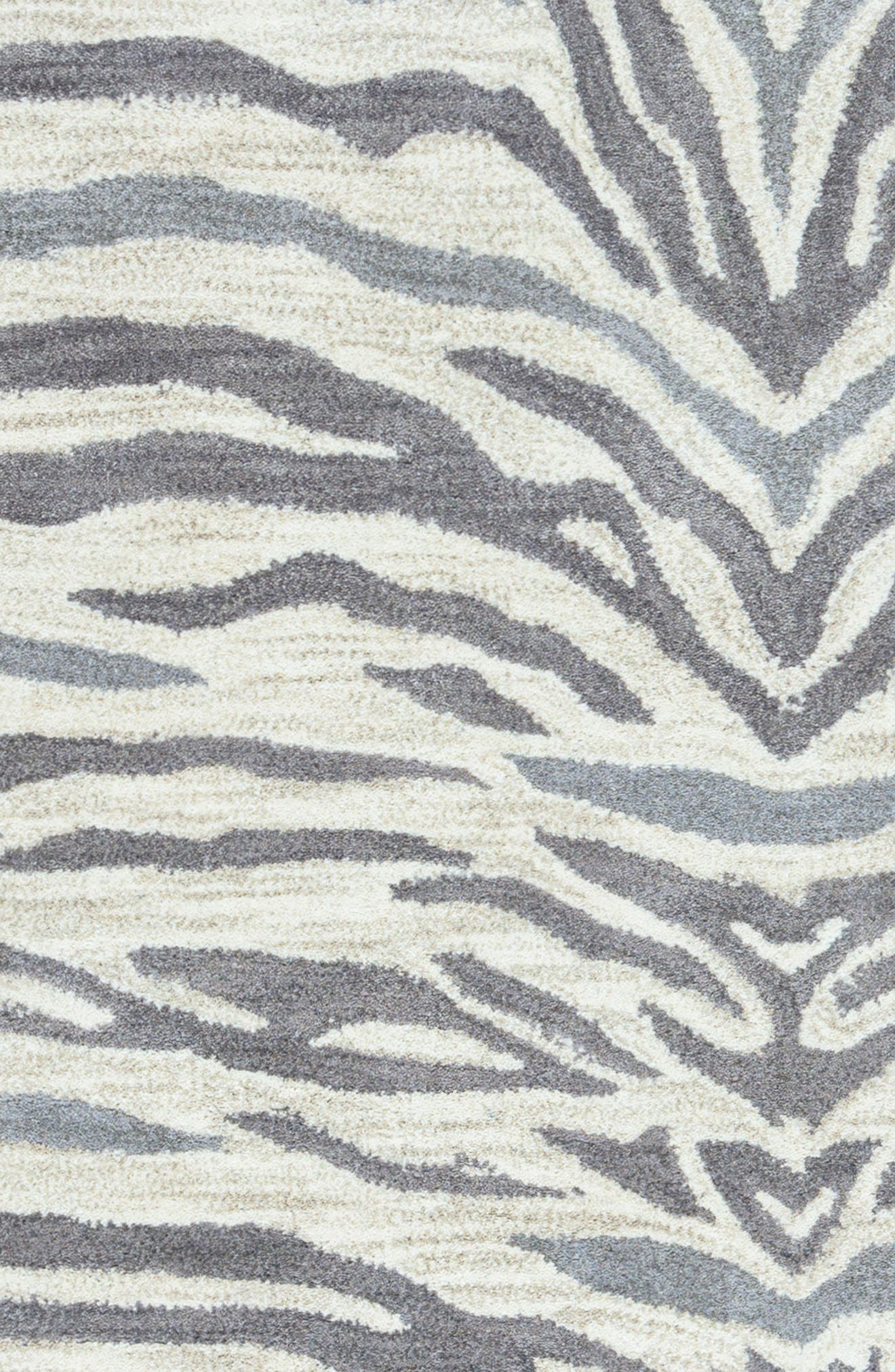 'Valintino Zebra' Hand Tufted Wool Area Rug,                             Alternate thumbnail 4, color,                             Light Grey