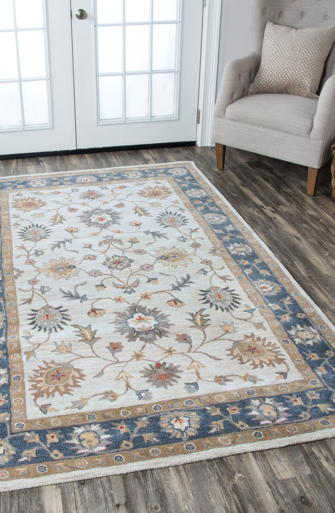 'Valintino Border' Hand Tufted Wool Area Rug,                             Alternate thumbnail 4, color,                             Taupe