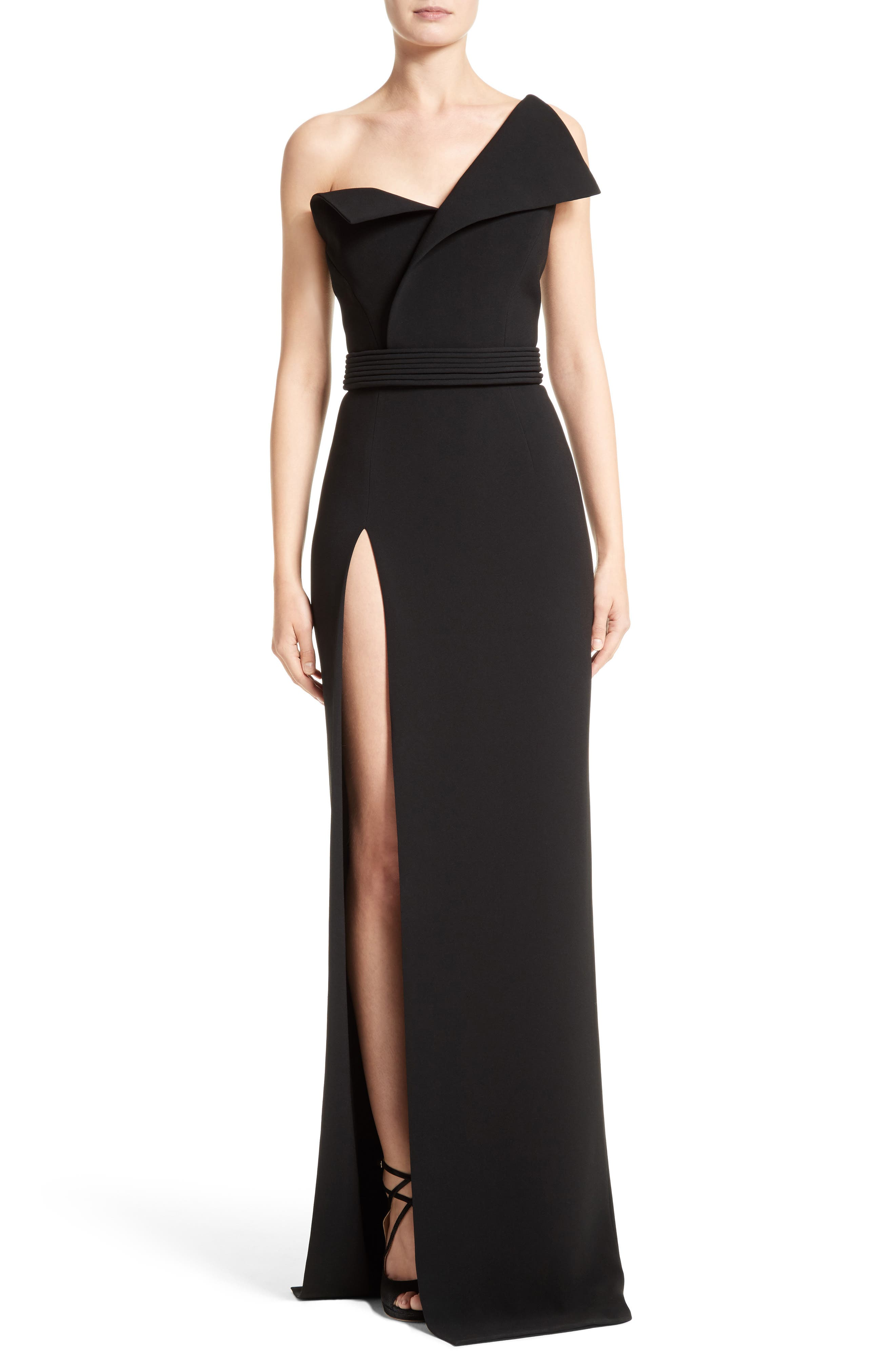 Belted Foldover Neck Gown with High Slit,                         Main,                         color, Black