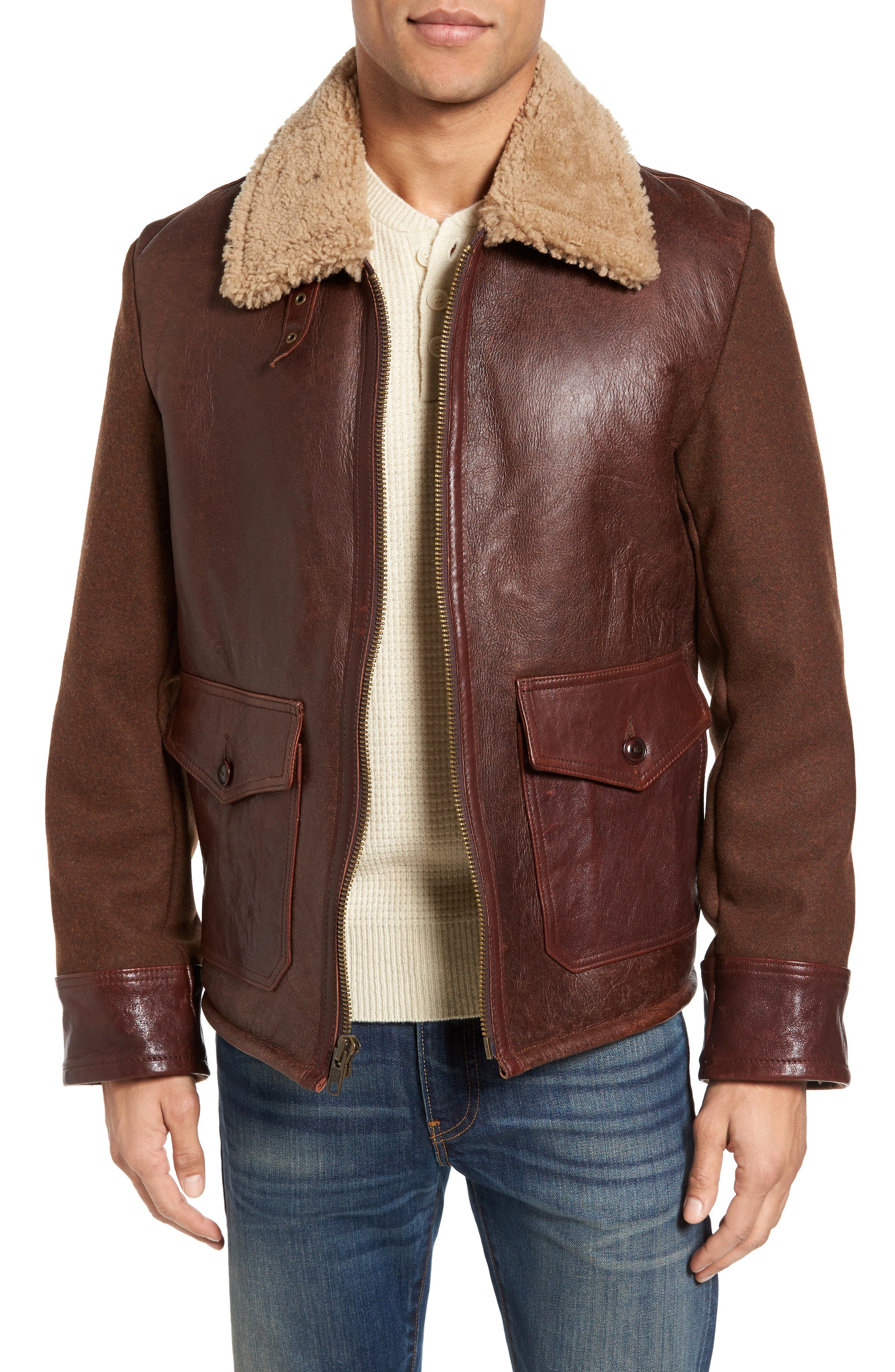 Mixed Media Flight Jacket with Genuine Shearling Collar & Lining,                             Main thumbnail 1, color,                             Brown