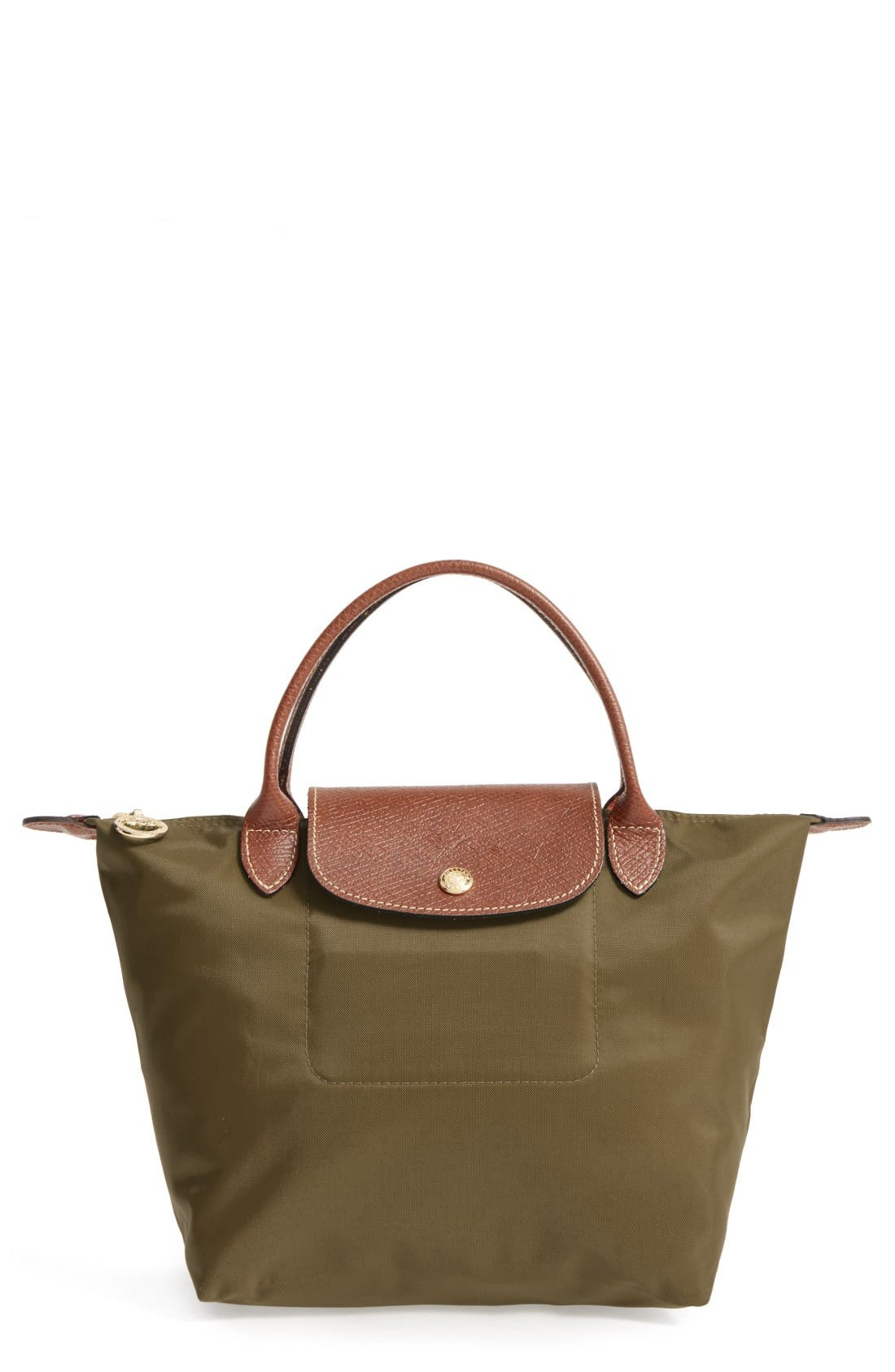 'Small Le Pliage' Top Handle Tote,                         Main,                         color, New Khaki