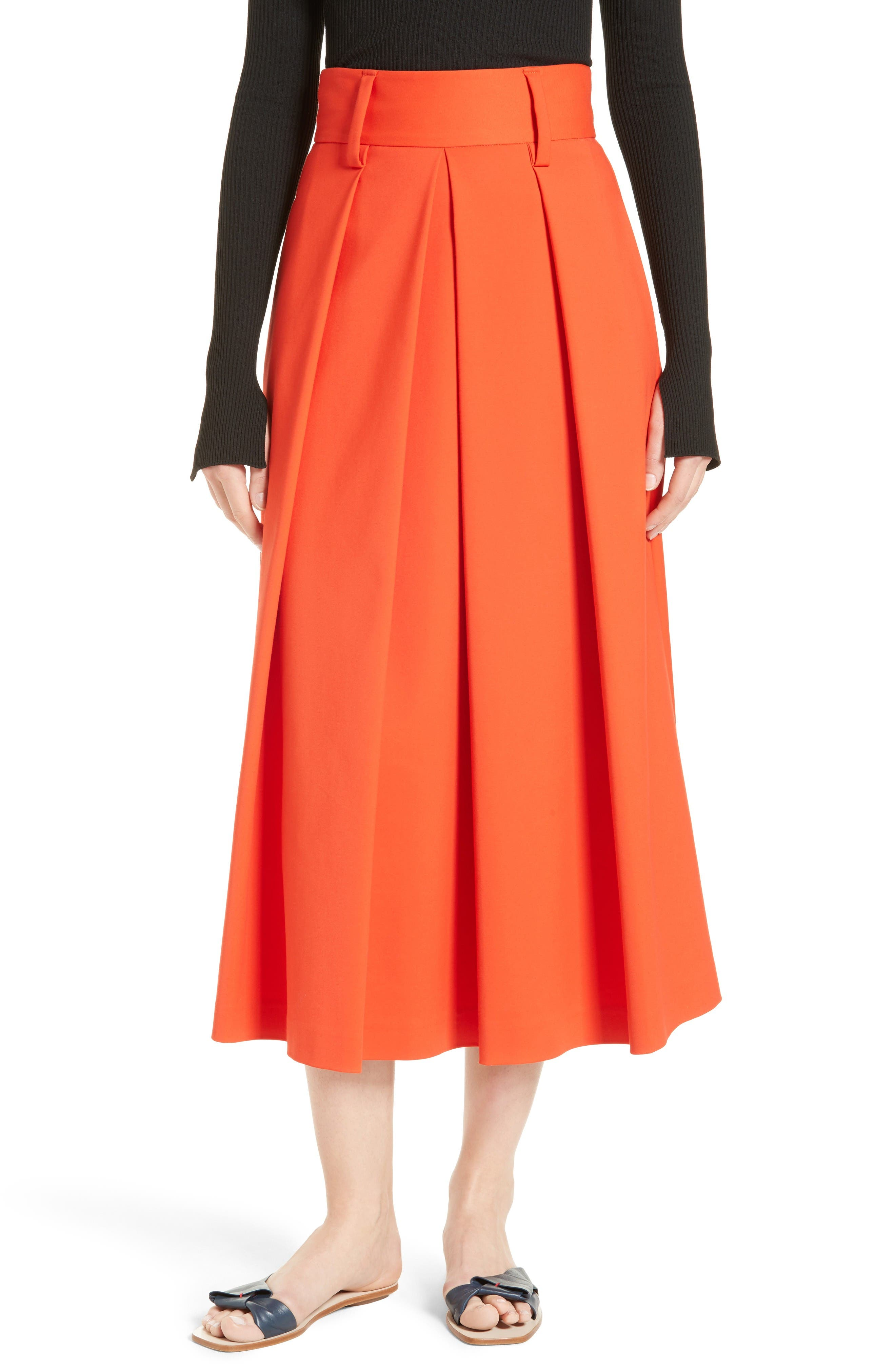 TIBI Agathe High Waist Pleated Midi Skirt