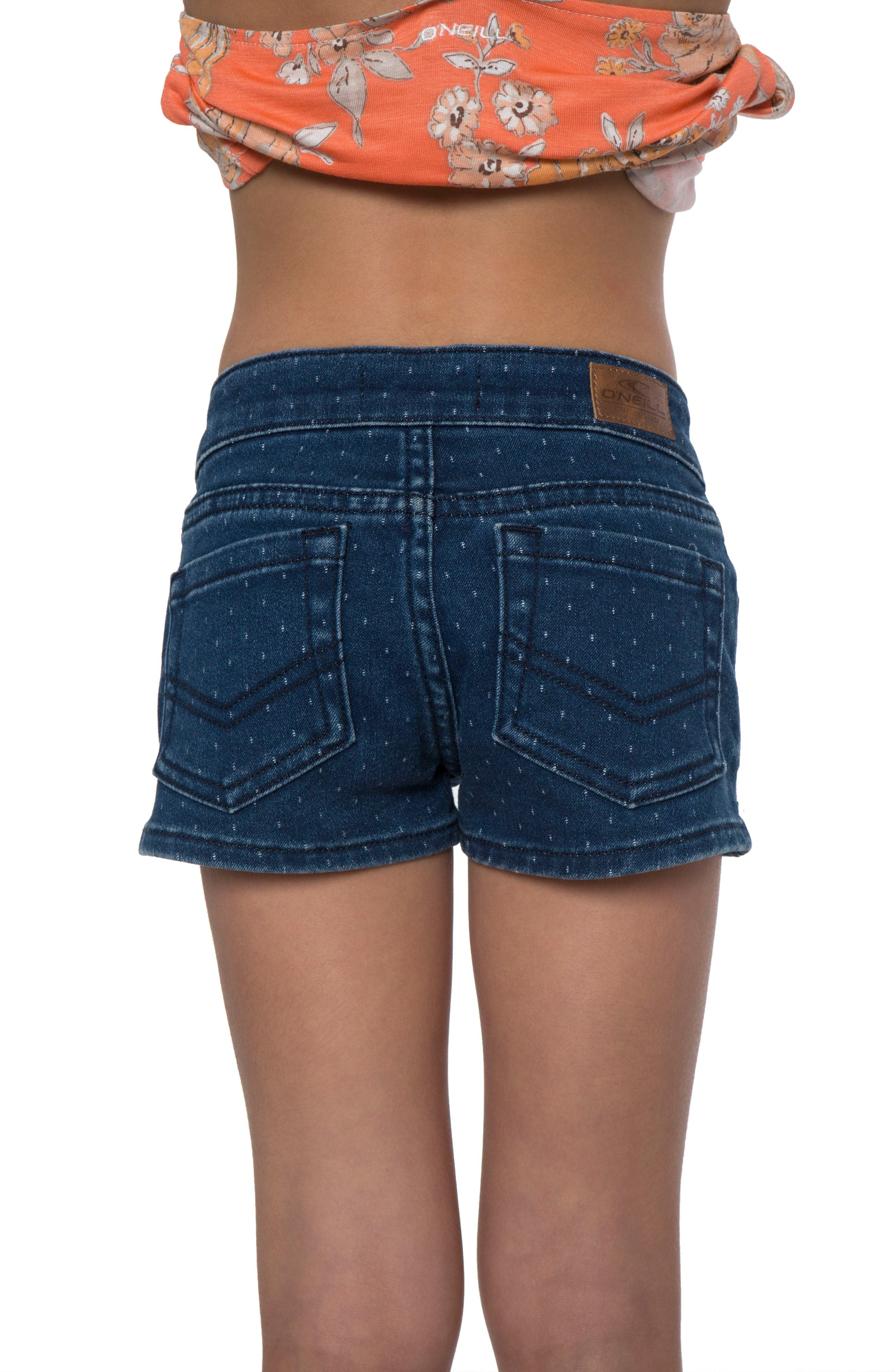 Minnie Denim Shorts,                             Alternate thumbnail 2, color,                             Blue Dot