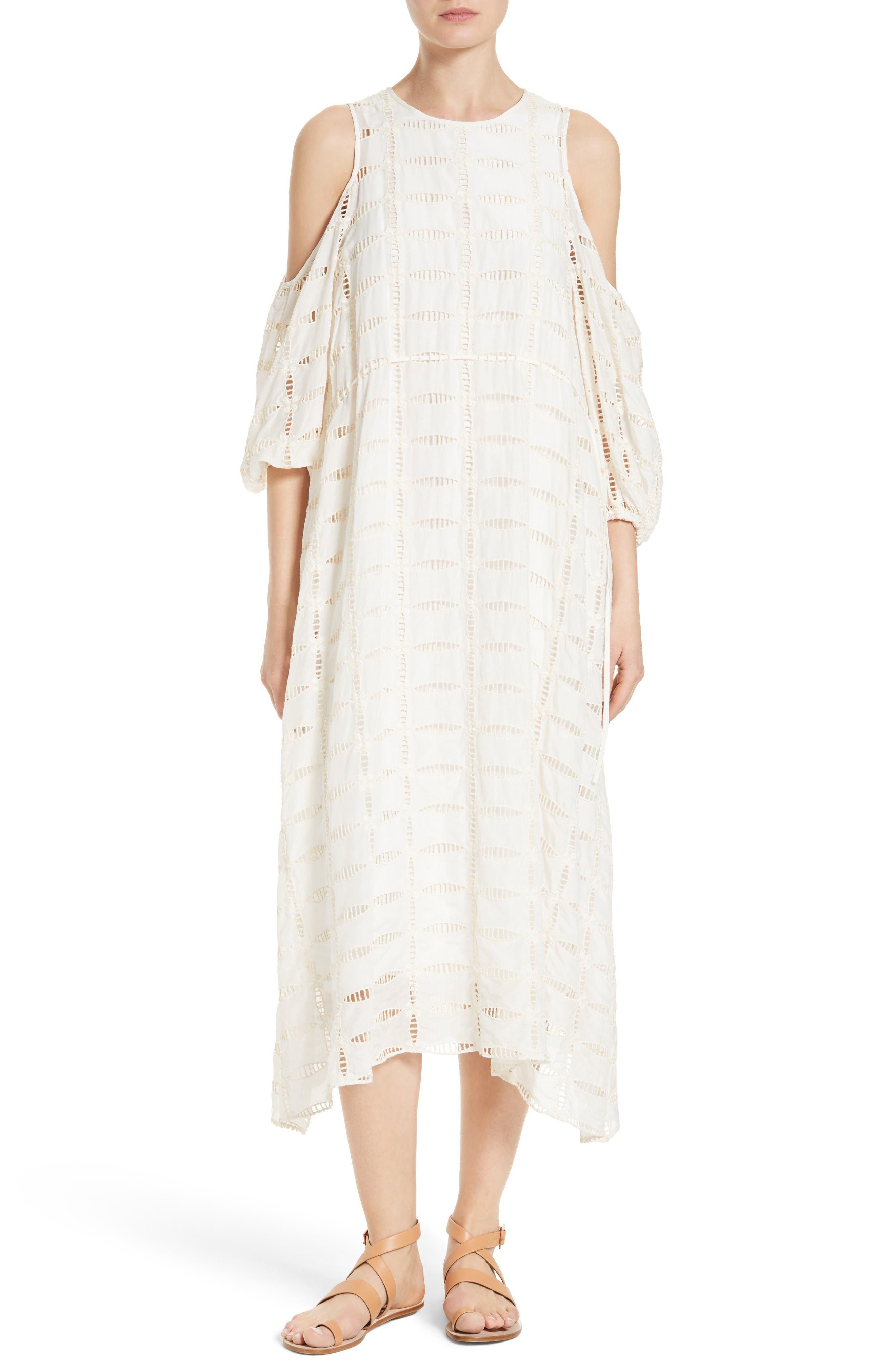 Main Image - Tibi Luca Cold Shoulder Eyelet Midi Dress