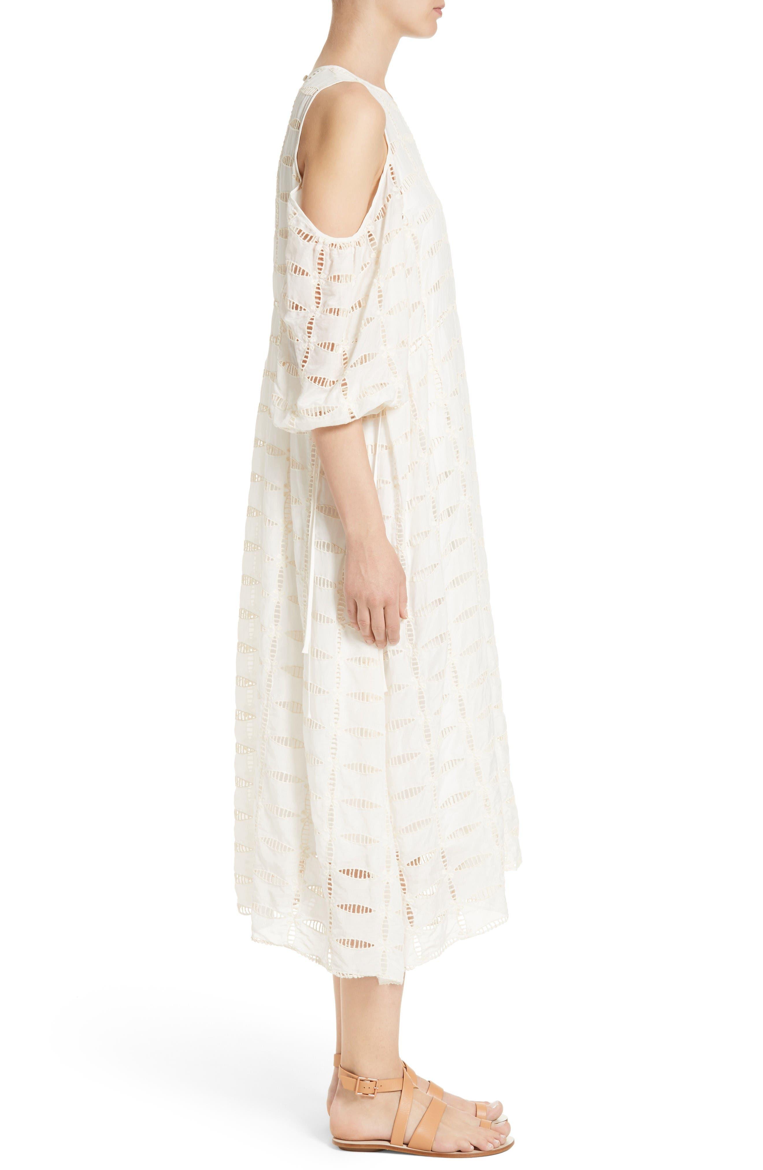 Alternate Image 3  - Tibi Luca Cold Shoulder Eyelet Midi Dress