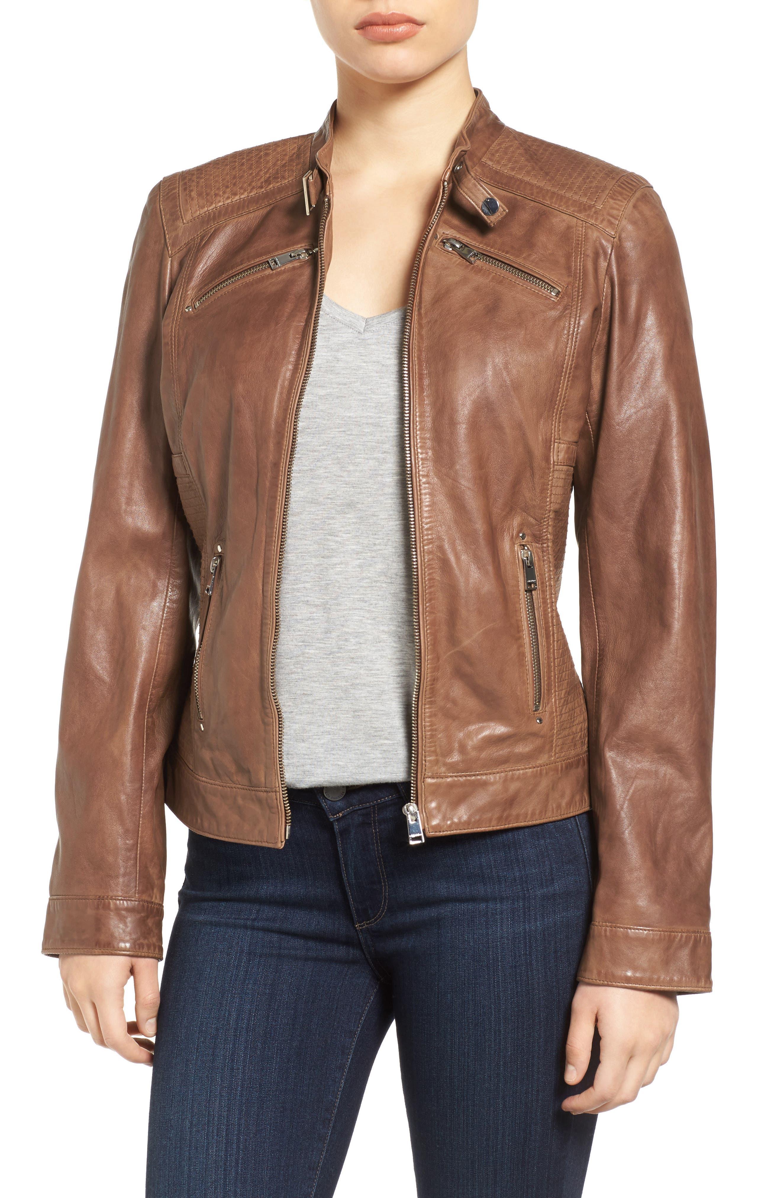 LAMARQUE Leighton Stitch Detail Lambskin Leather Jacket (Online Only)
