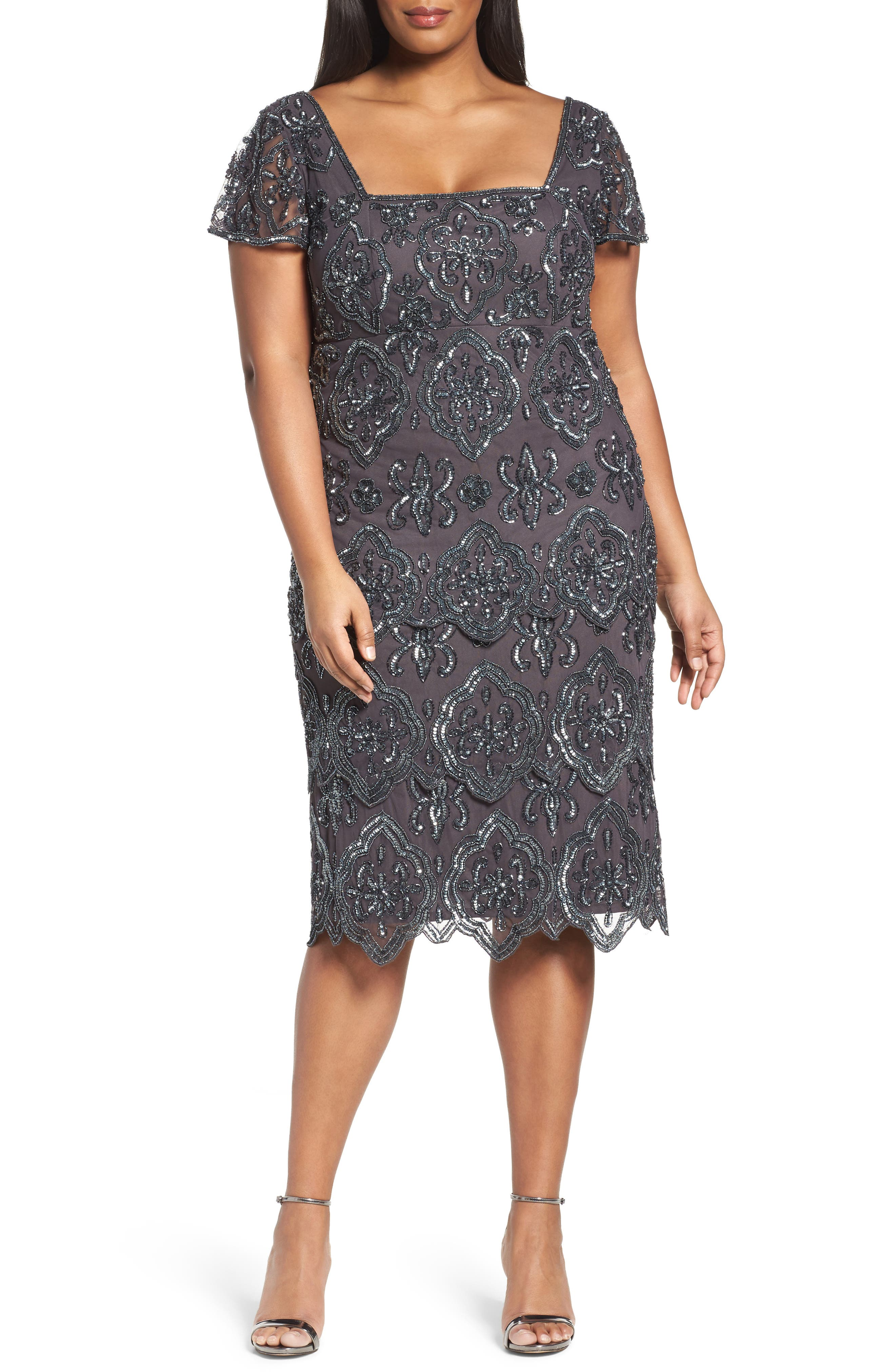 Pisarro Nights Lace Tiers Embellished Cocktail Sheath Dress (Plus Size)