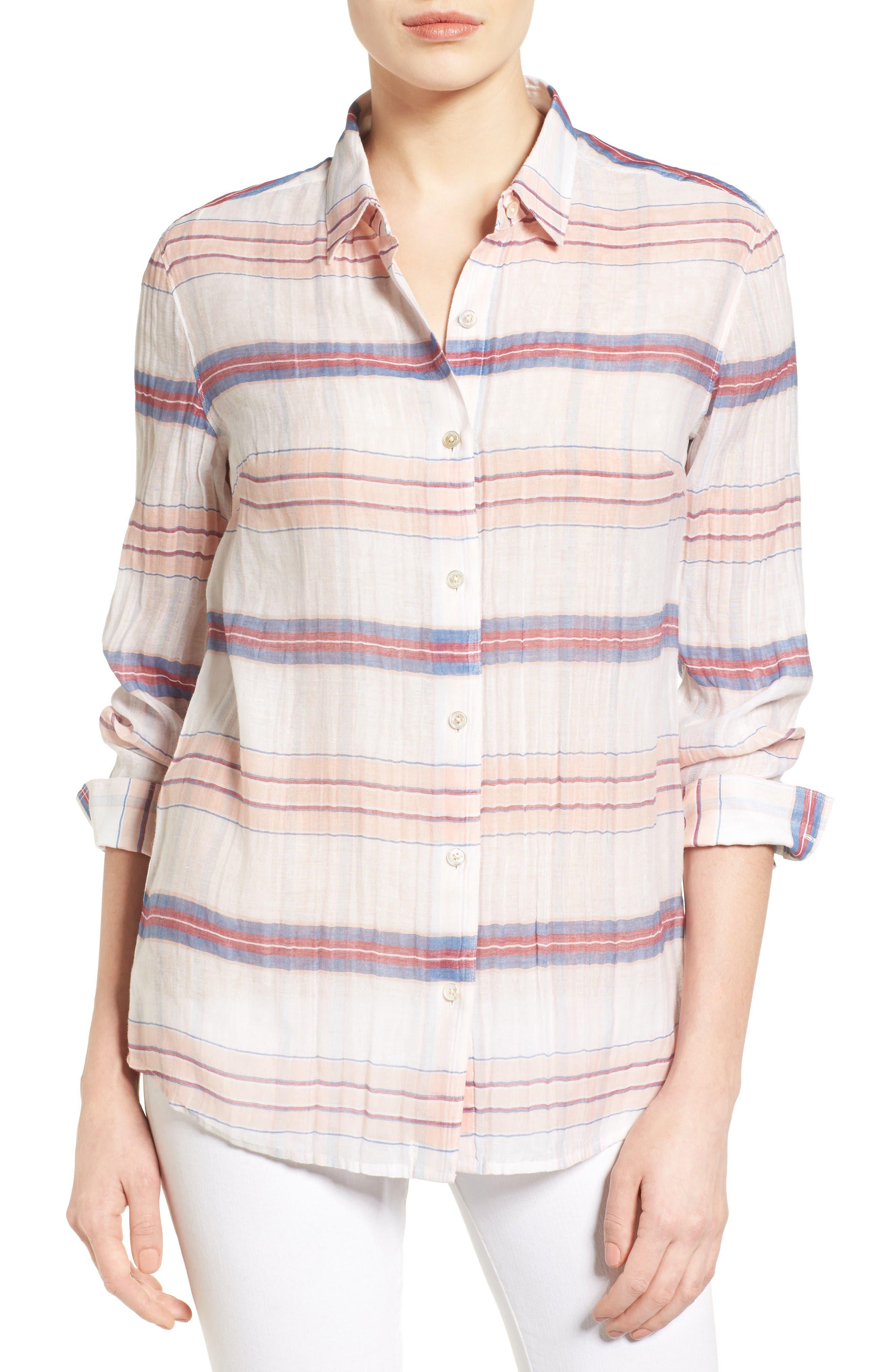 Costas Stripe Cotton & Silk Shirt,                         Main,                         color, White
