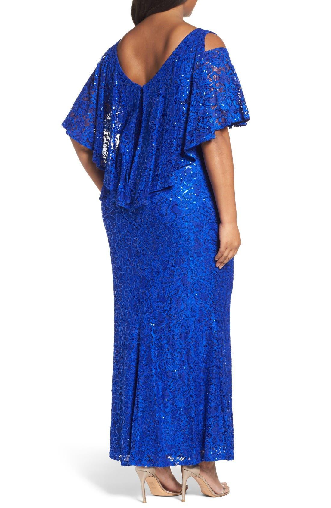 Alternate Image 2  - Marina Sequin Lace Cold Shoulder Long Dress (Plus Size)