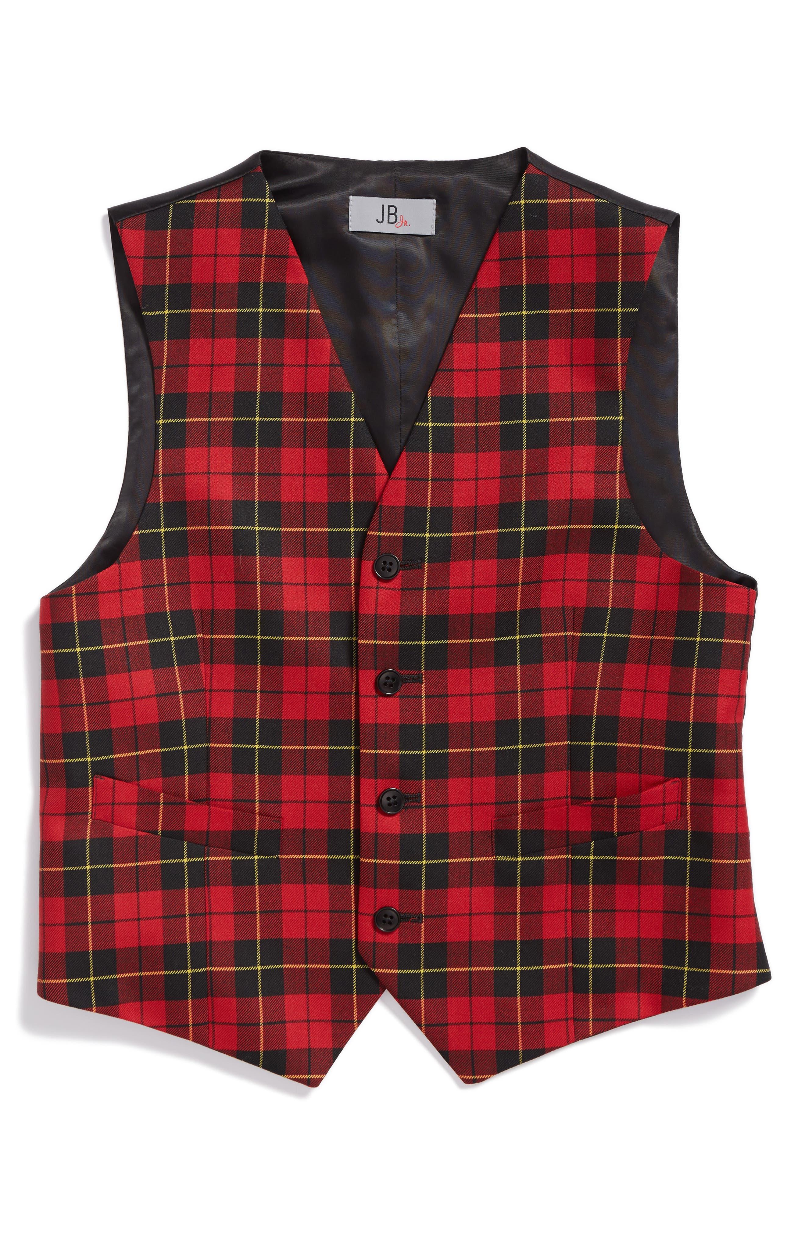 JB Jr Tartan Plaid Wool Vest (Big Boys)