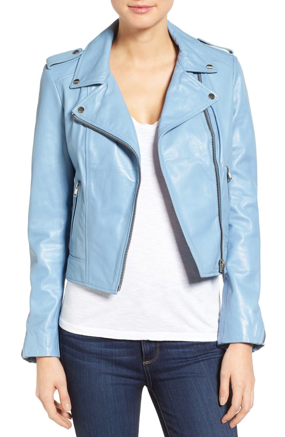 LAMARQUE Donna Lambskin Leather Moto Jacket in Powder Blue