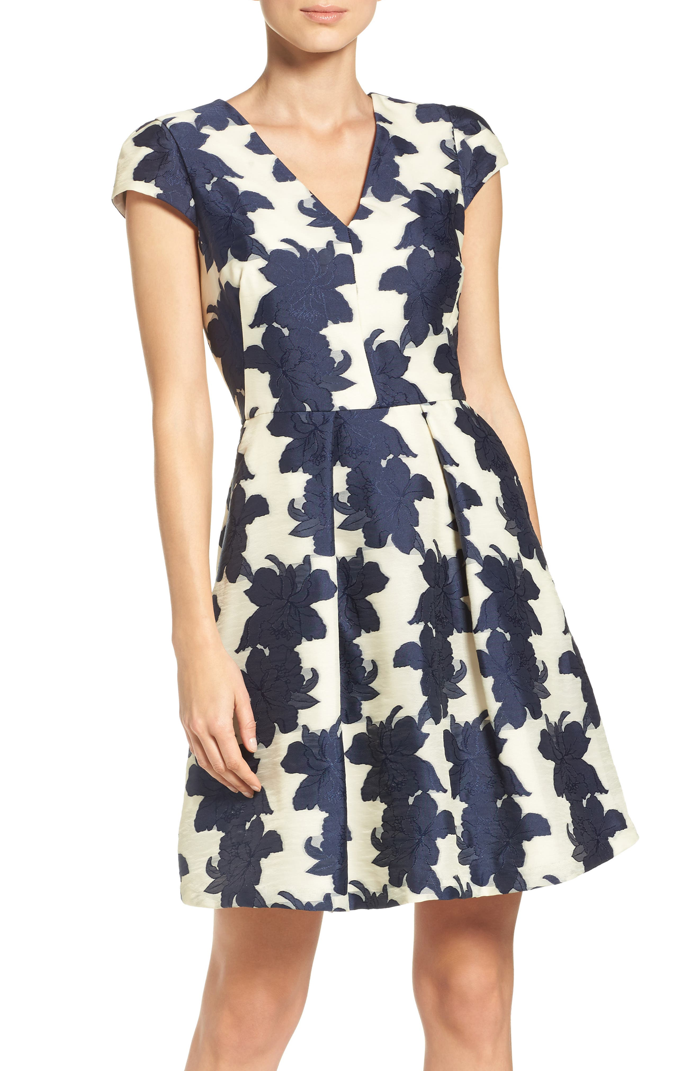 Main Image - Vince Camuto Floral Organza Fit & Flare Dress (Regular & Petite)