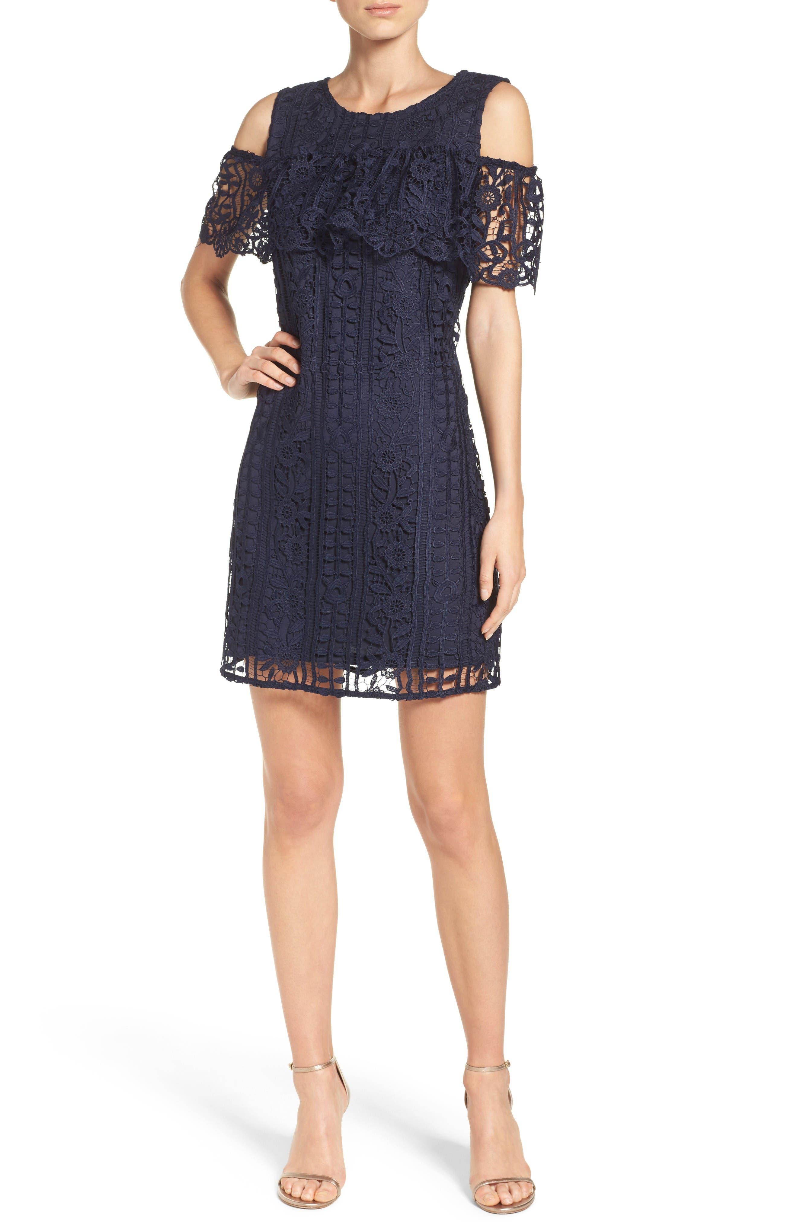 Ruffle Sheath Dress,                             Alternate thumbnail 4, color,                             Navy