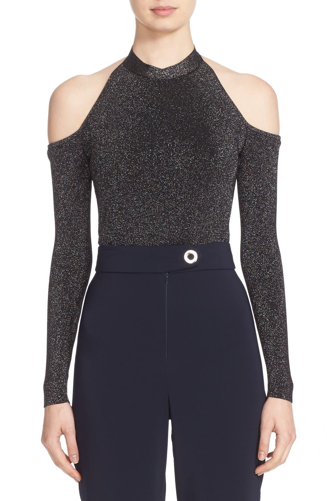 Knit Cold Shoulder Bodysuit,                             Main thumbnail 1, color,                             Metallic Black