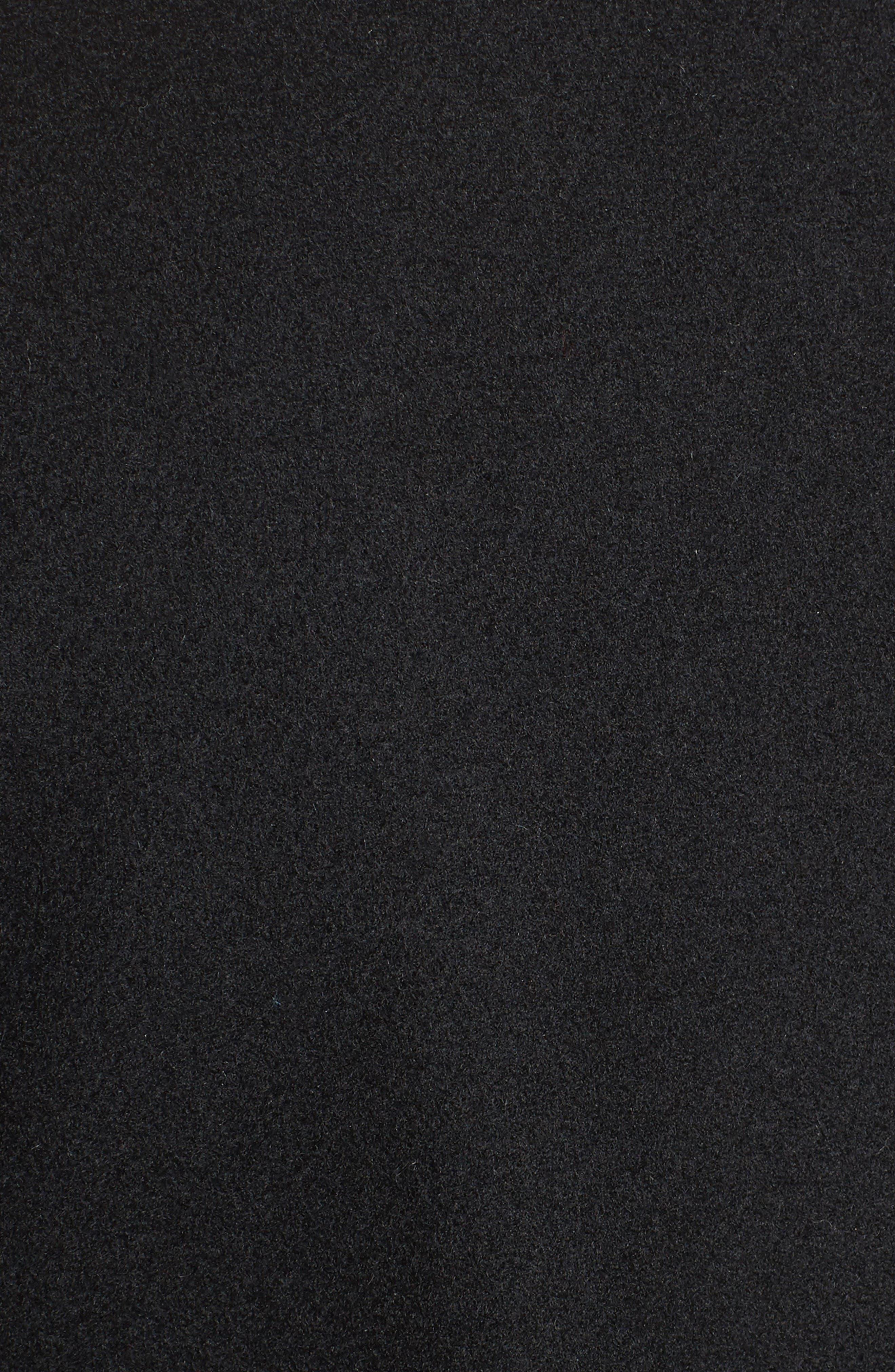Belted Long Wool Coat,                             Alternate thumbnail 5, color,                             Black