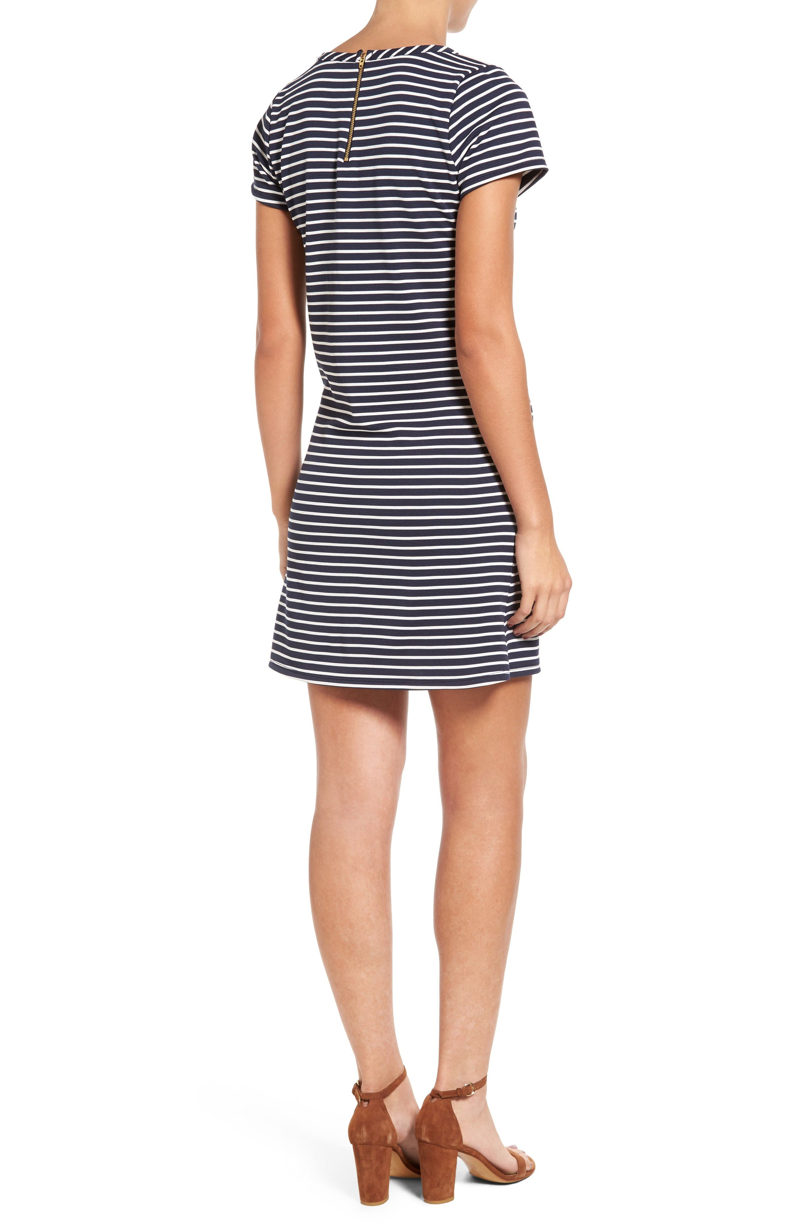 Alternate Image 2  - Loveappella Stripe Ottoman Shift Dress (Petite)
