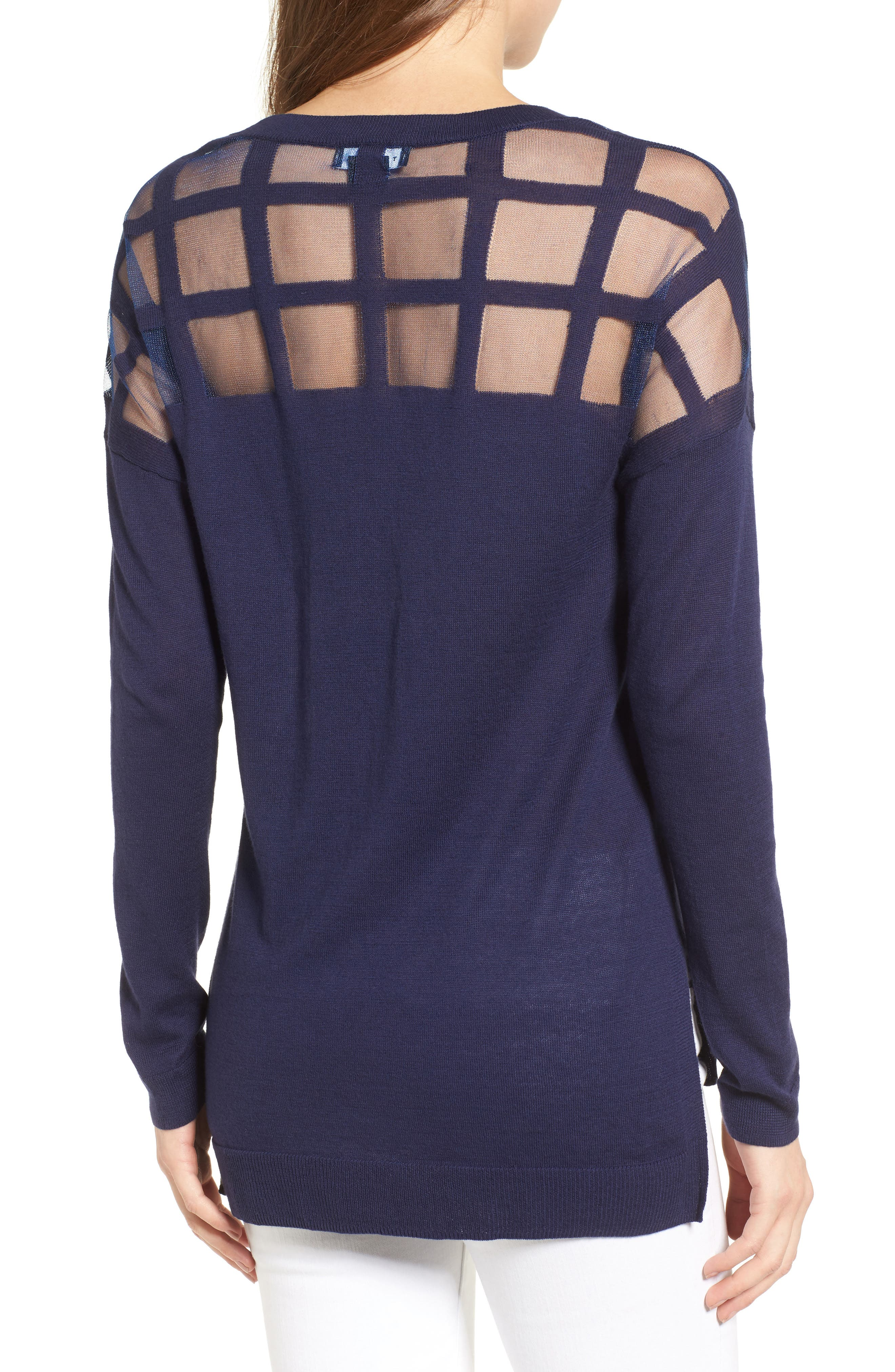 Alternate Image 2  - Trouvé Sheer Grid Yoke Sweater