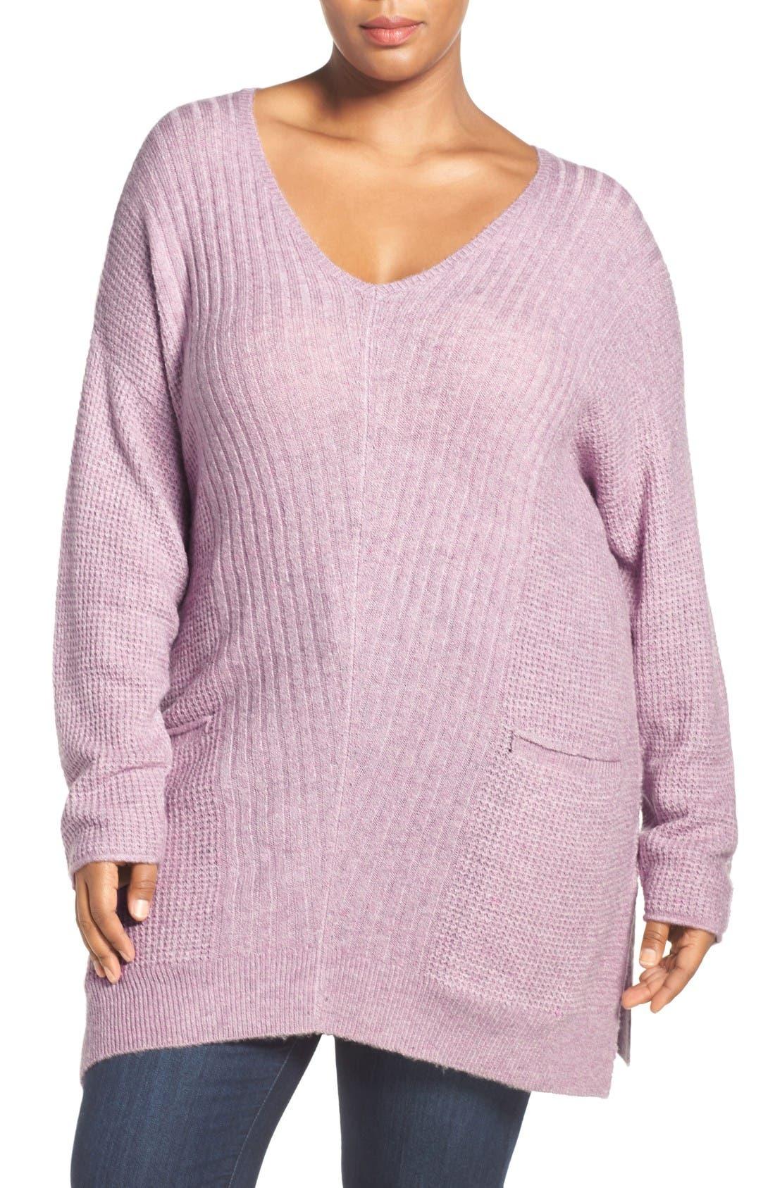 Mixed Stitch V-Neck Tunic Sweater,                         Main,                         color, Heather Purple Morn