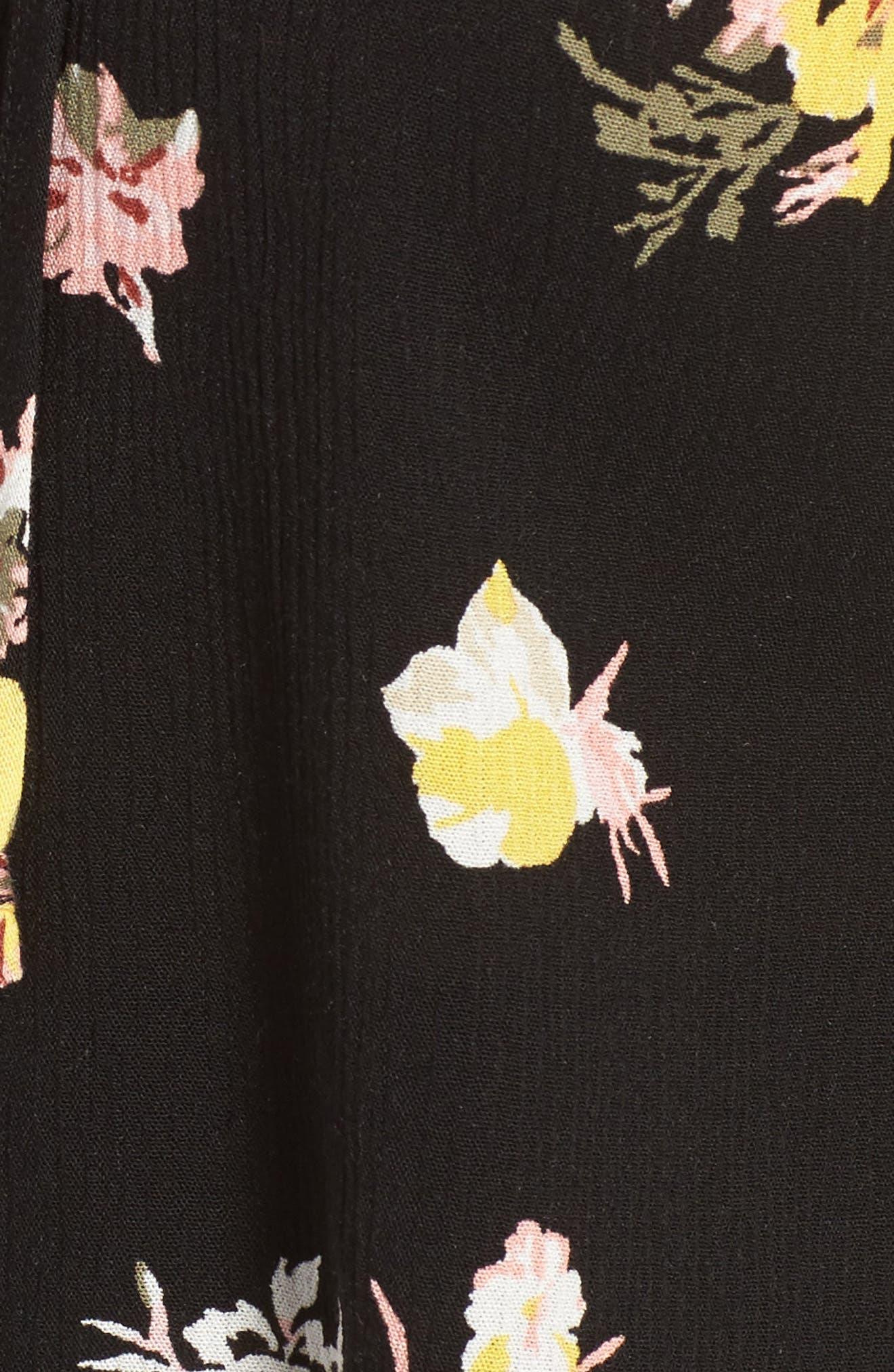 Coordinating Lace-Up Crop Top,                             Alternate thumbnail 6, color,                             Black Blush Floral