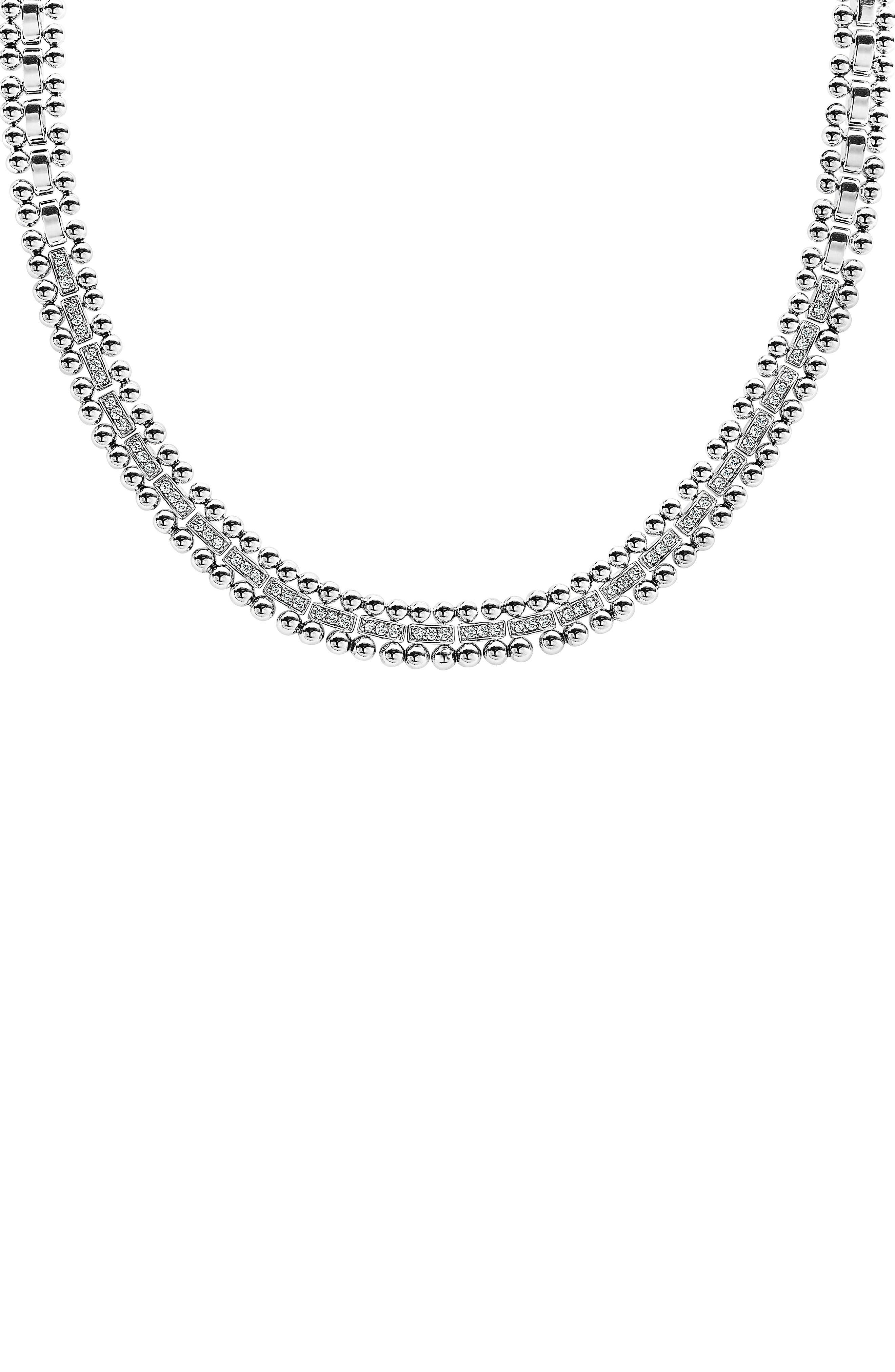 Caviar Spark Diamond Collar Necklace,                             Alternate thumbnail 3, color,                             Silver/ Diamond