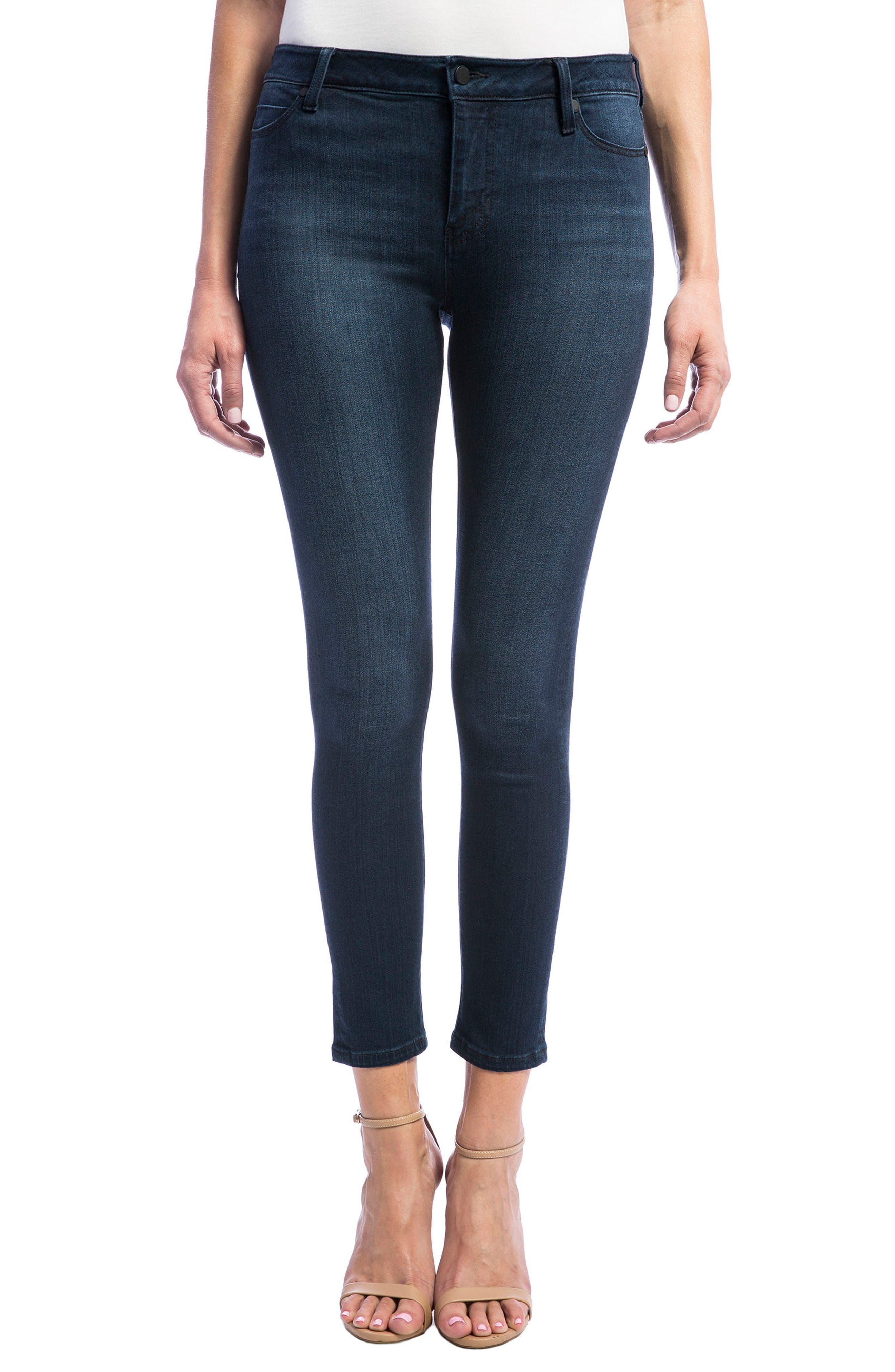 High Rise Stretch Ankle Skinny Jeans,                             Main thumbnail 1, color,                             Doheny Dark