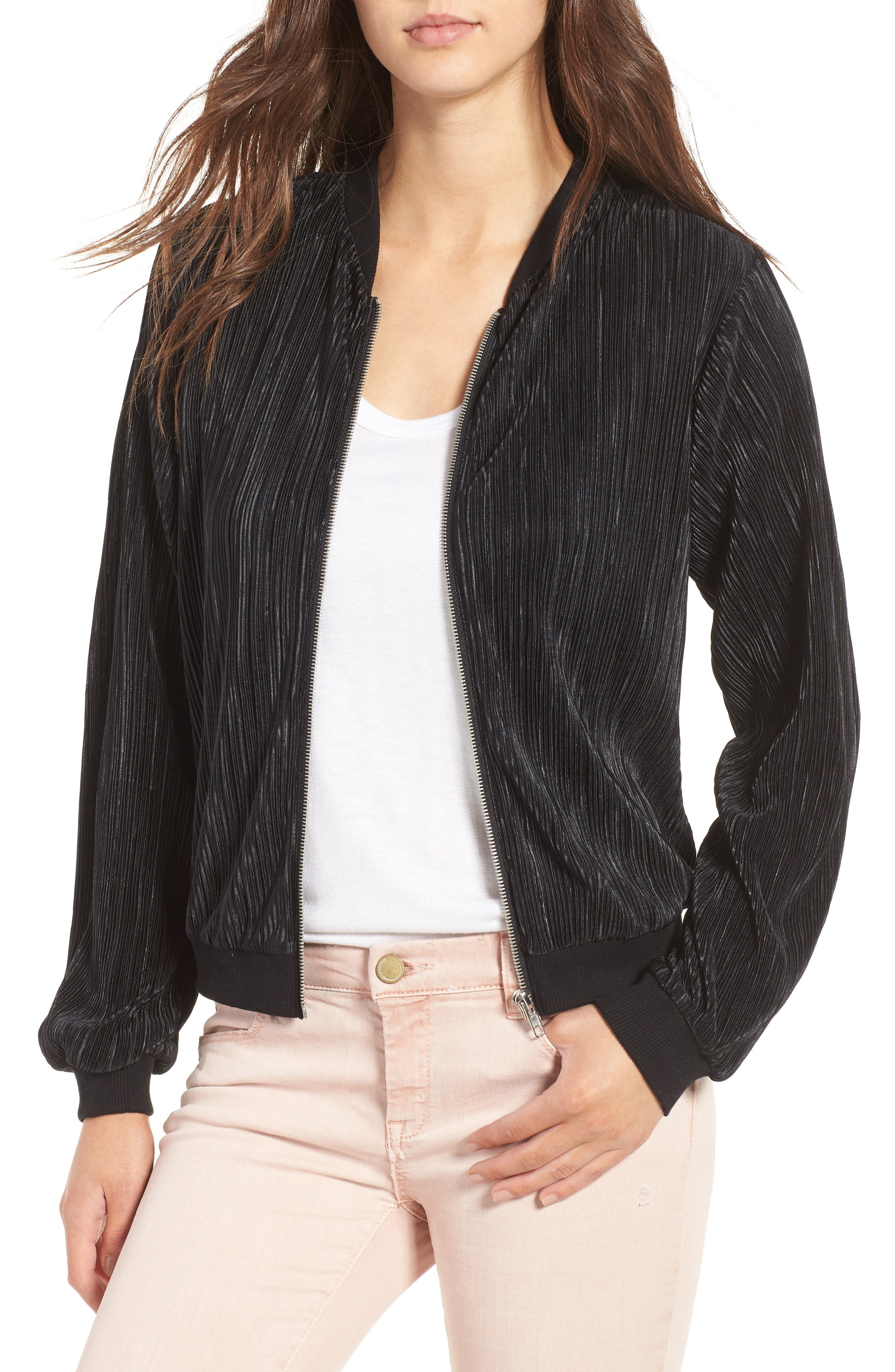 Love, Fire Pleated Bomber Jacket
