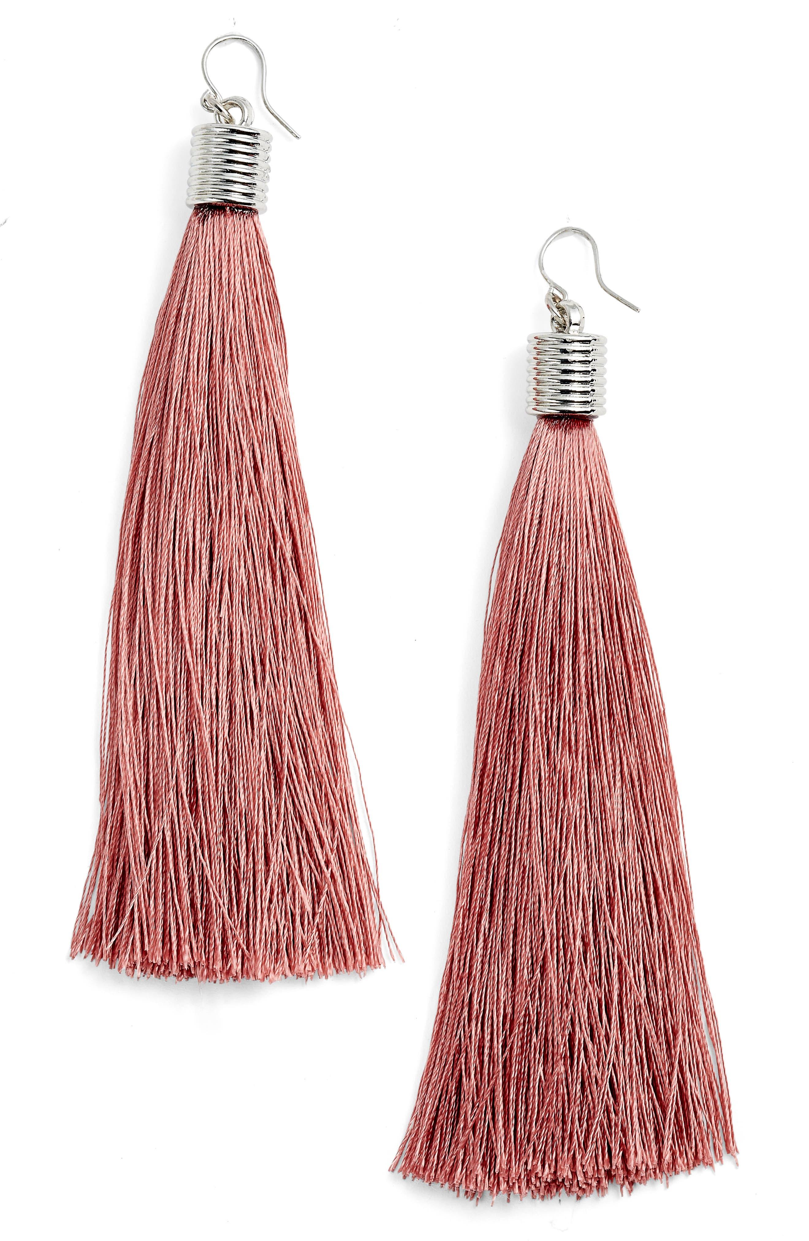 Tassel Drop Earrings,                         Main,                         color, Pink