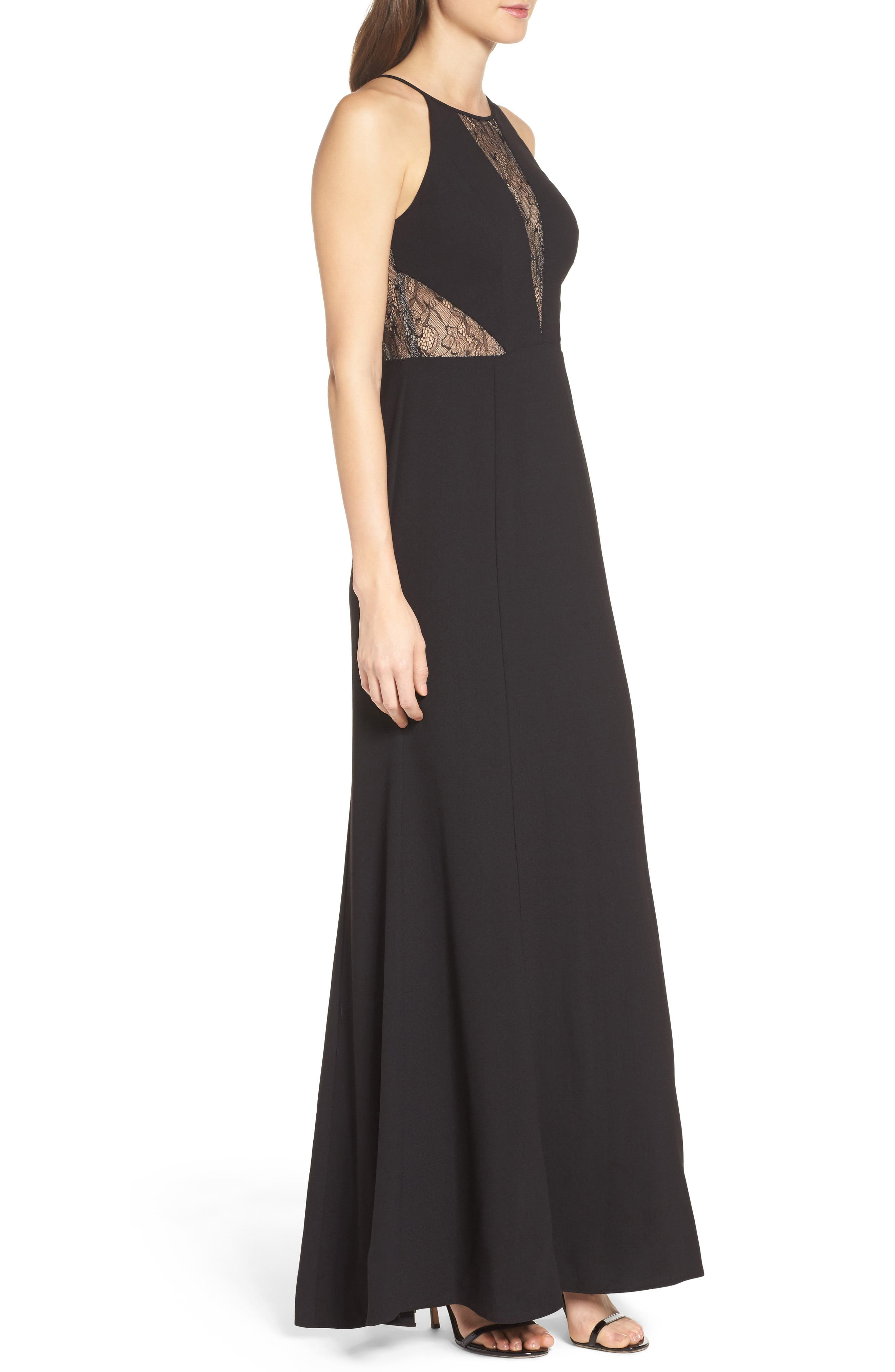 Alternate Image 3  - Aidan by Aidan Mattox Crepe & Lace Halter Style Gown