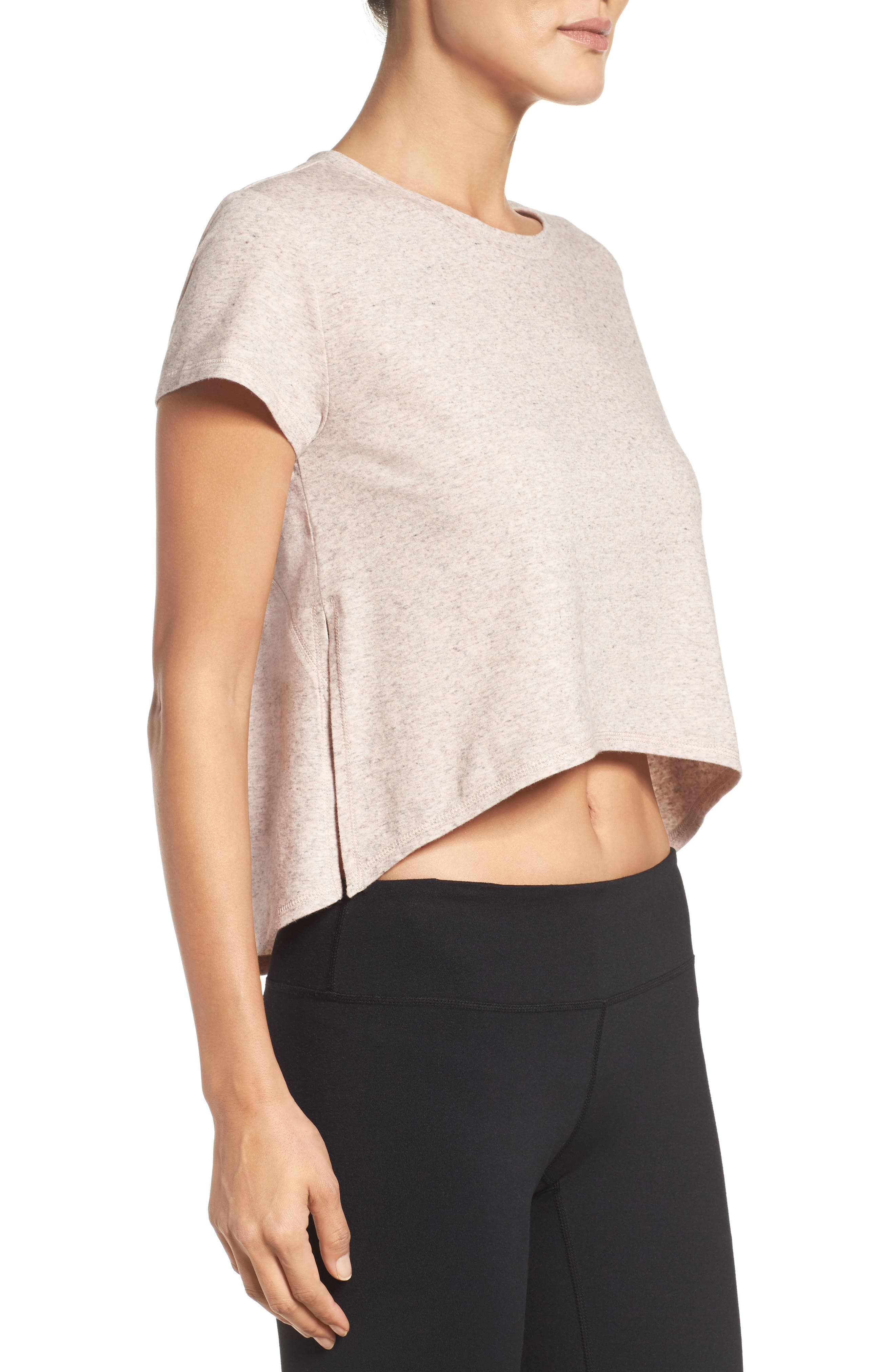 Devin Crop Tee,                             Alternate thumbnail 3, color,                             Coral Sunlight Heather