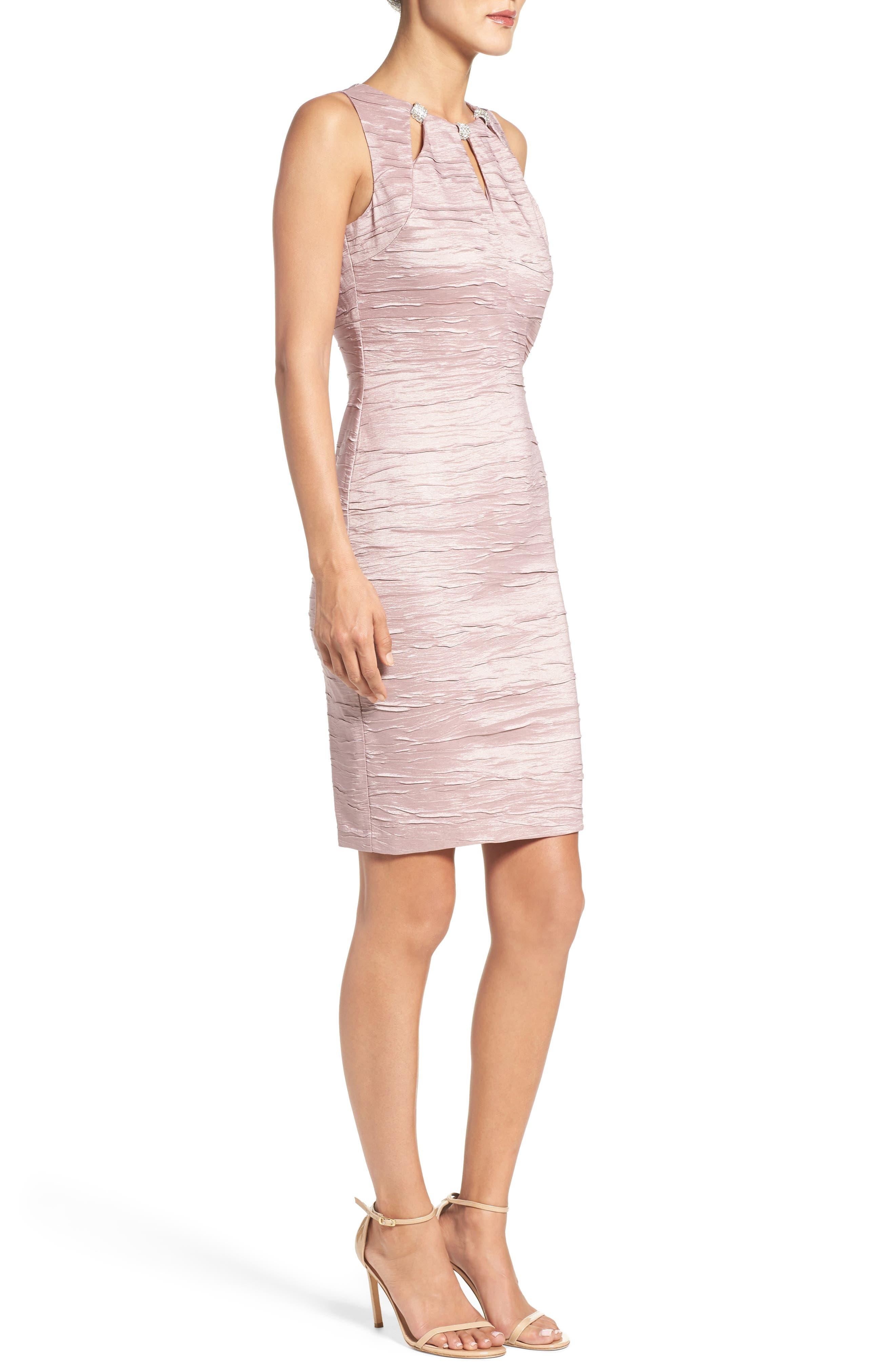 Embellished Cutout Taffeta Sheath Dress,                             Alternate thumbnail 4, color,                             Mauve
