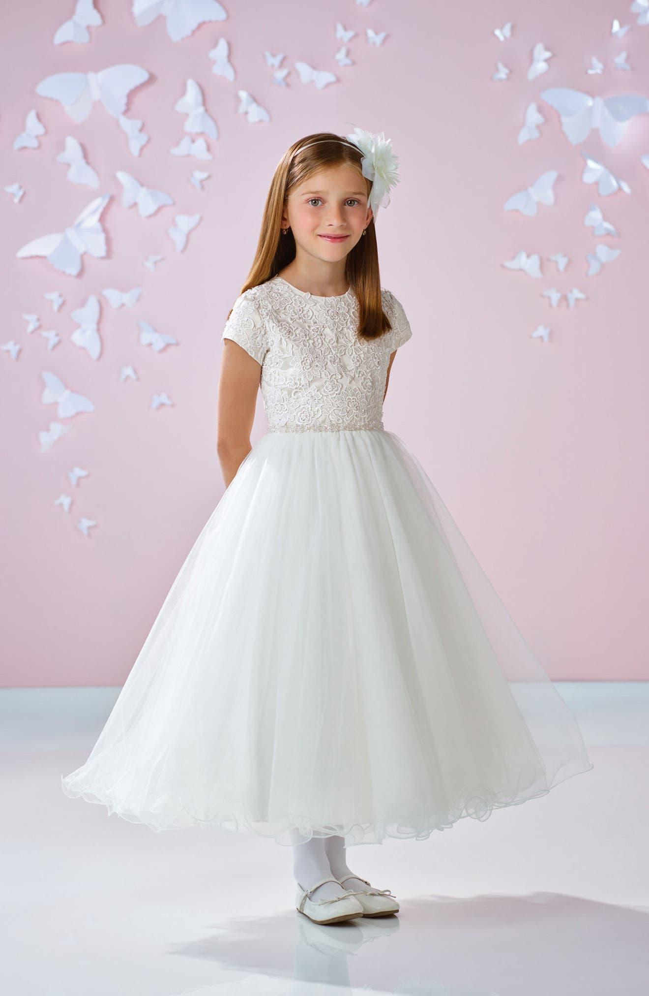Alternate Image 5  - Joan Calabrese for Mon Cheri Floral Appliqué First Communion Dress (Little Girls & Big Girls)