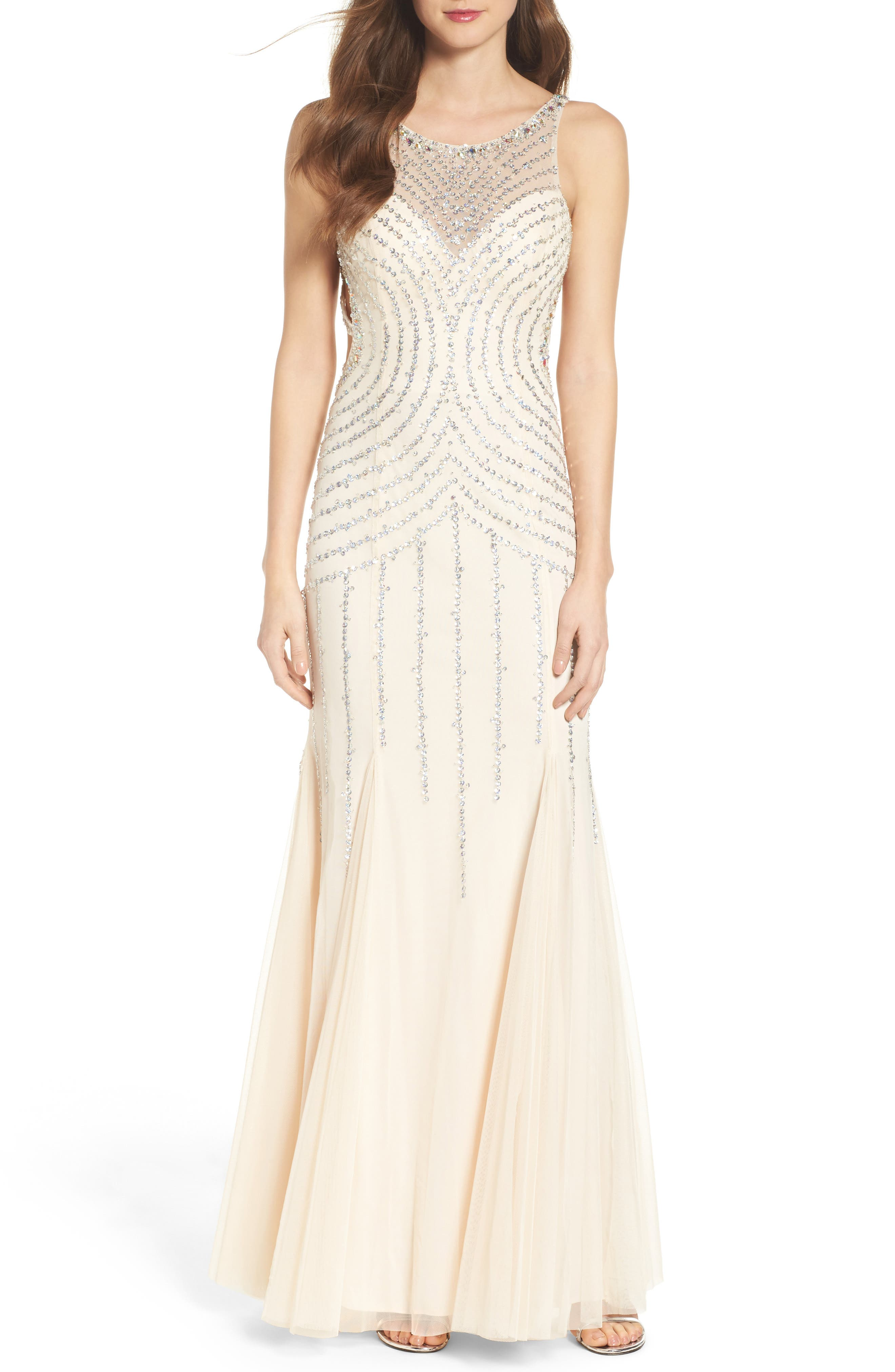 Embellished Mesh Mermaid Gown,                         Main,                         color, Champagne