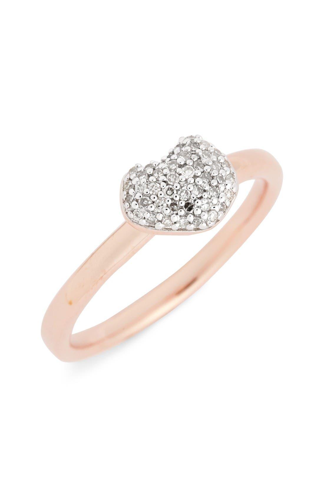 Nura Pavé Diamond Ring,                         Main,                         color, Rose Gold/ Diamond