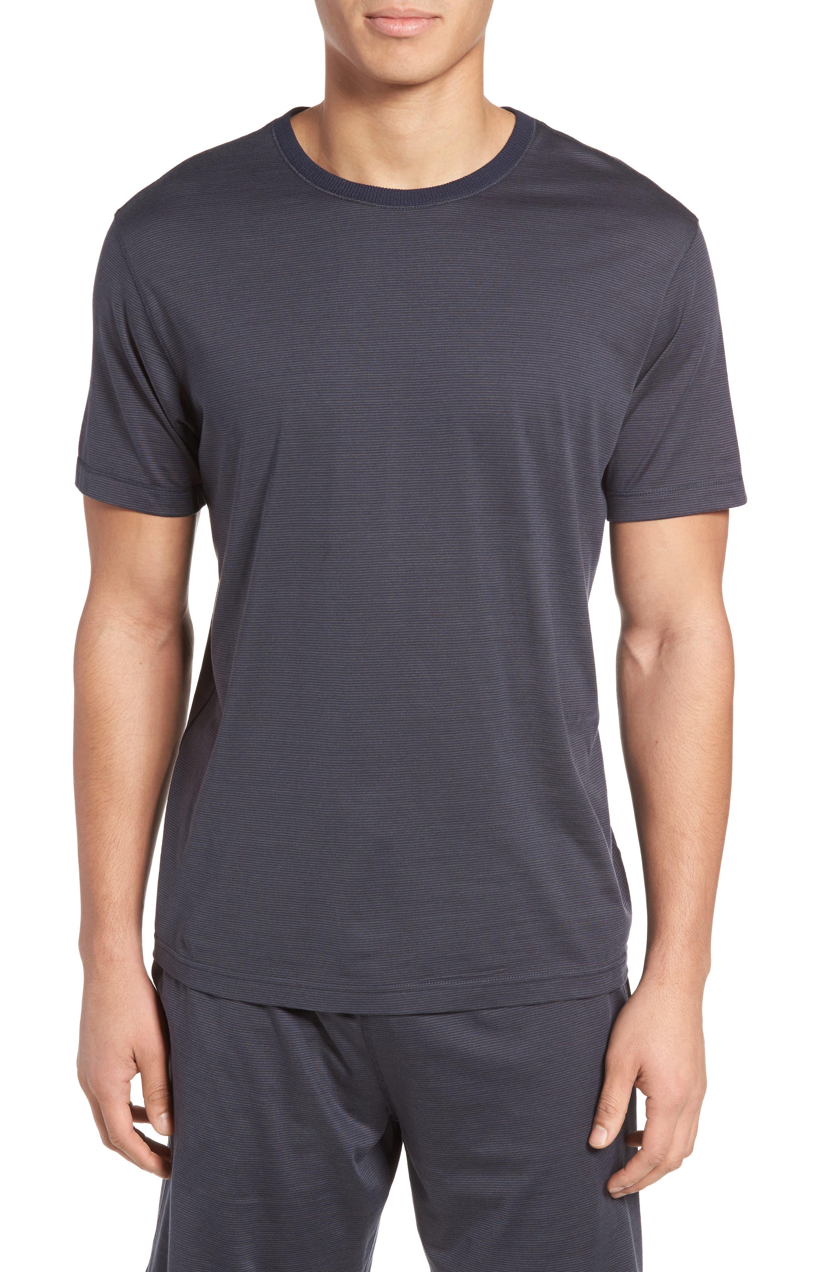 Silk & Cotton Crewneck T-Shirt,                         Main,                         color, Charcoal/ Navy