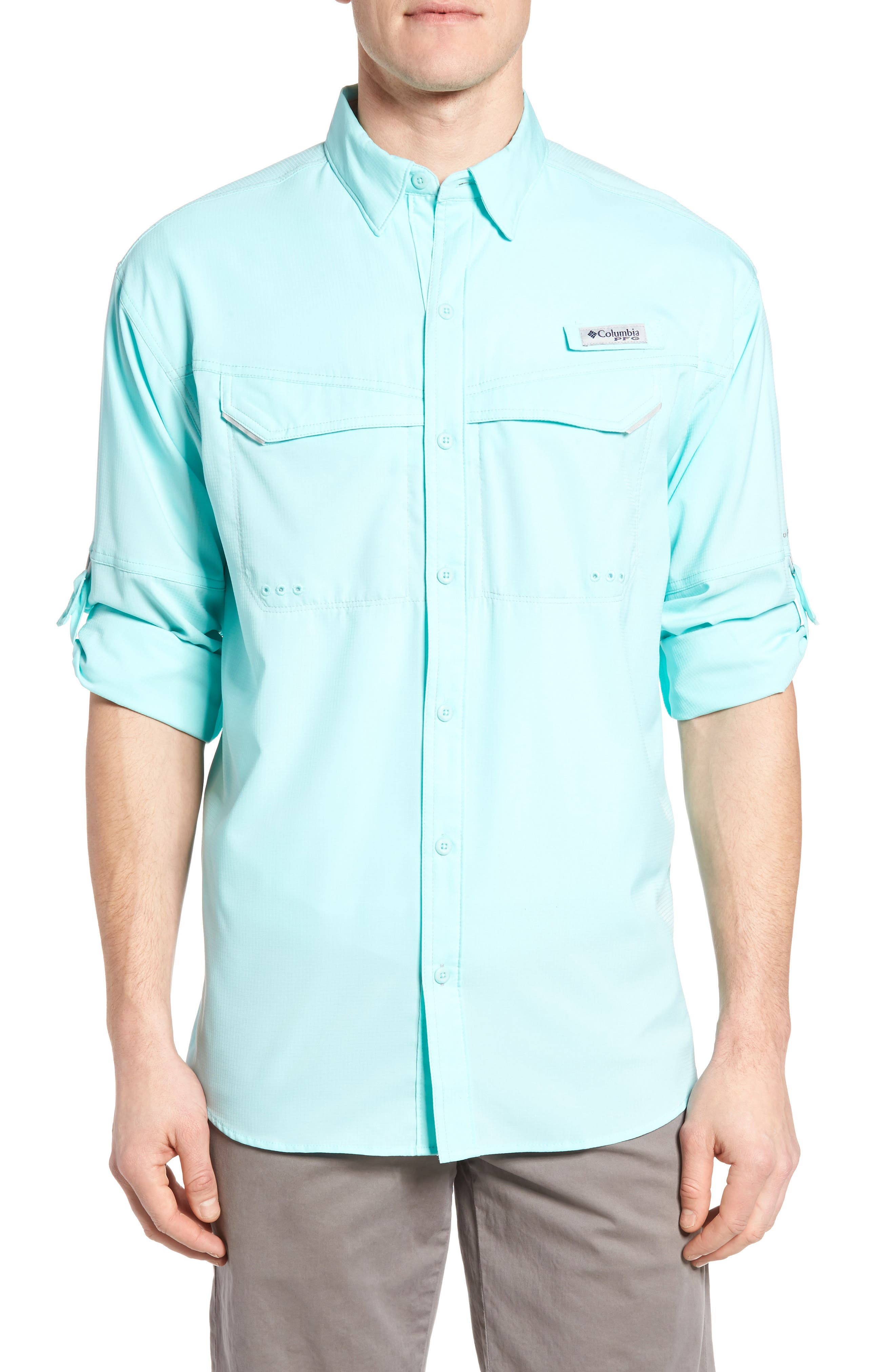 Low Drag Offshore Woven Shirt,                             Main thumbnail 1, color,                             Gulf Stream