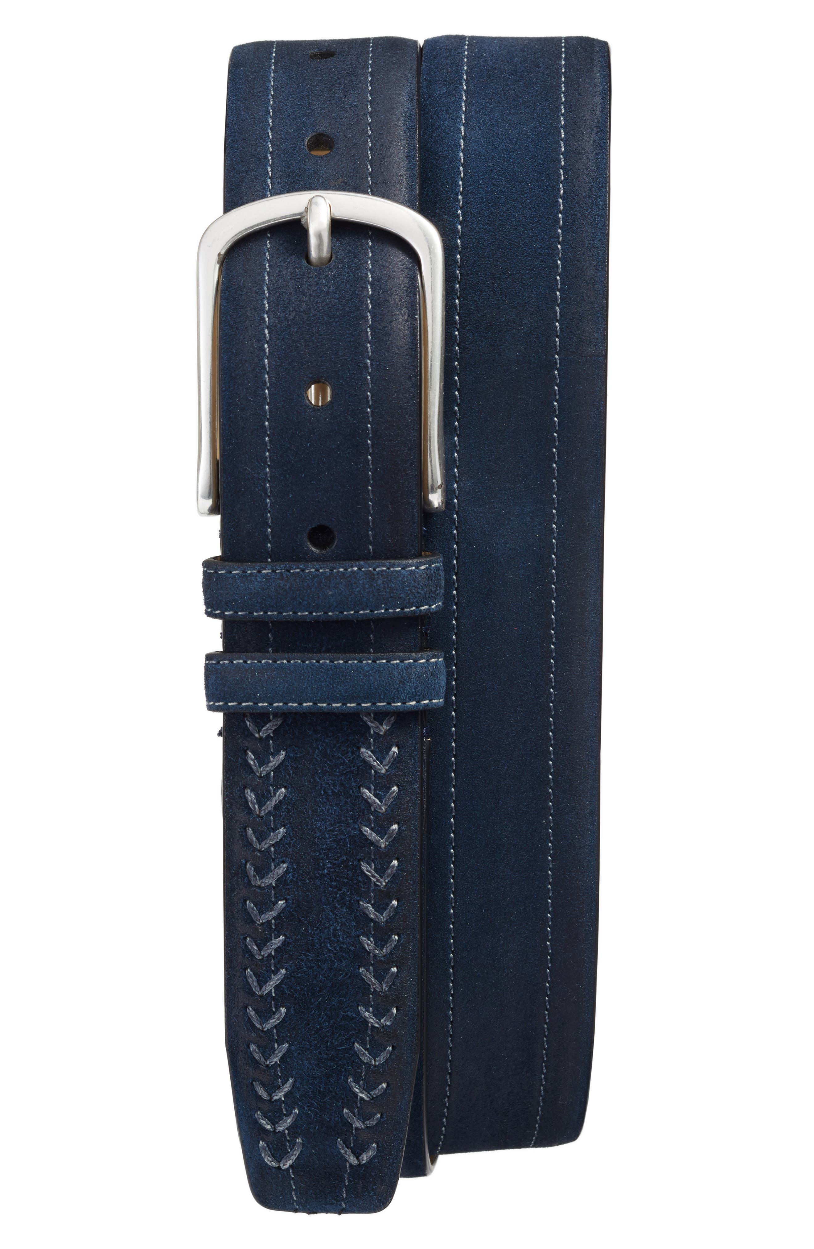 Suede Belt,                         Main,                         color, Blue