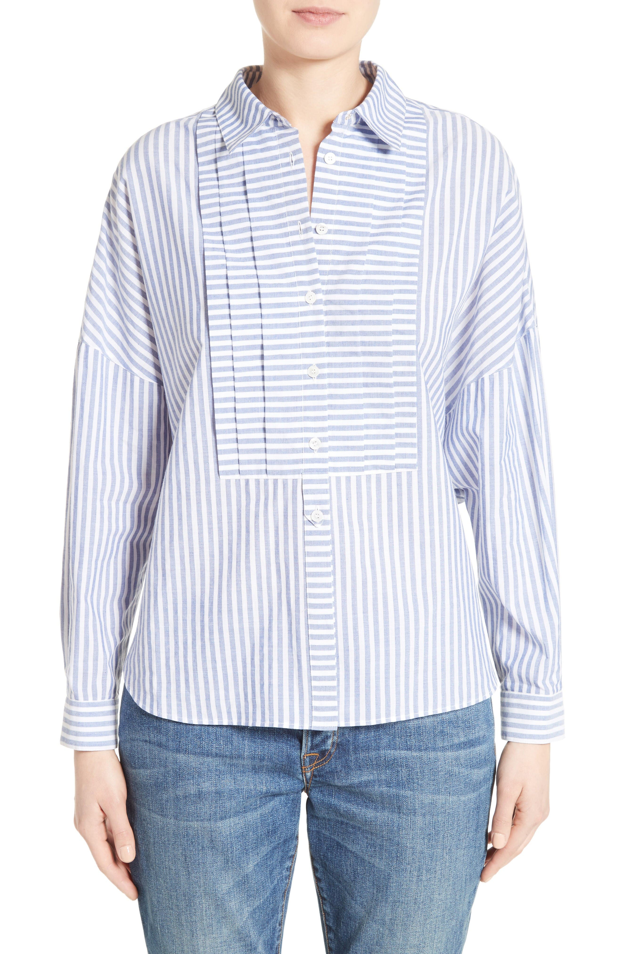 Posy Stripe Bib Boyfriend Shirt,                             Main thumbnail 1, color,                             Pale Blue/ White