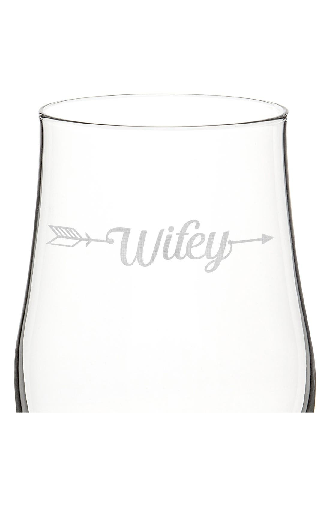 Hubby/Wifey Set of 2 Pilsner Glasses,                             Alternate thumbnail 3, color,                             Clear