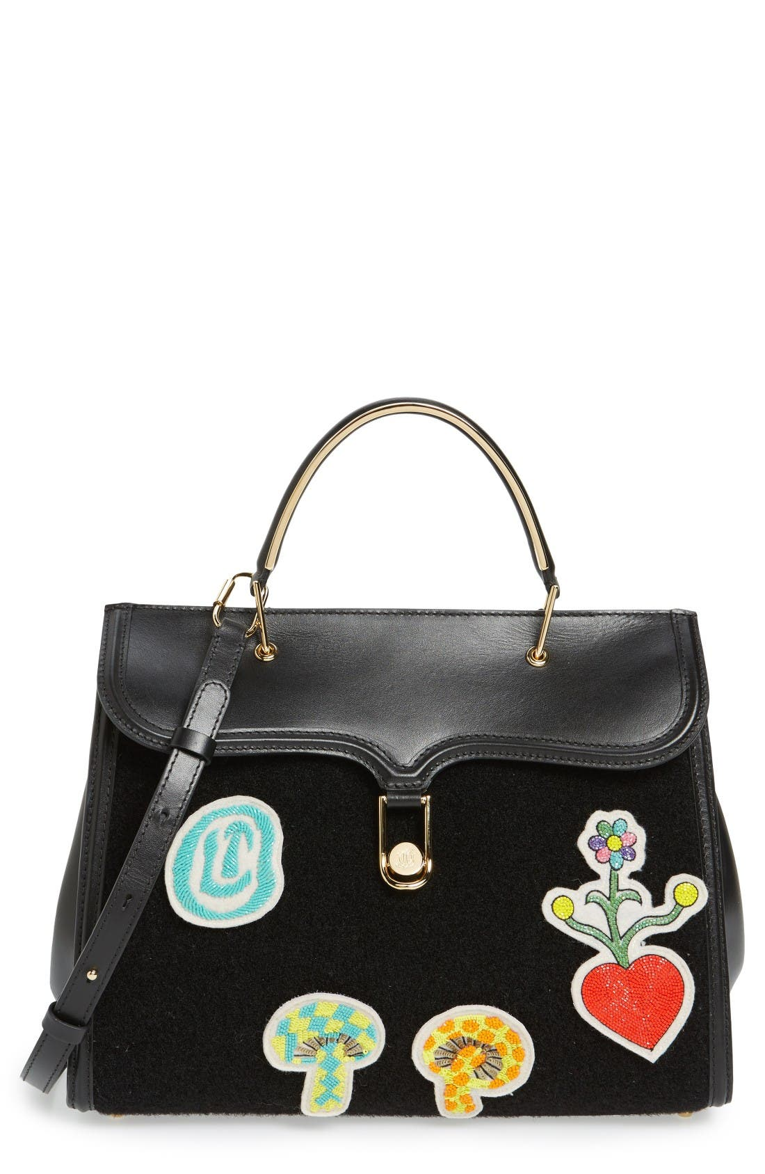 Beaded Patches Satchel,                         Main,                         color, Black
