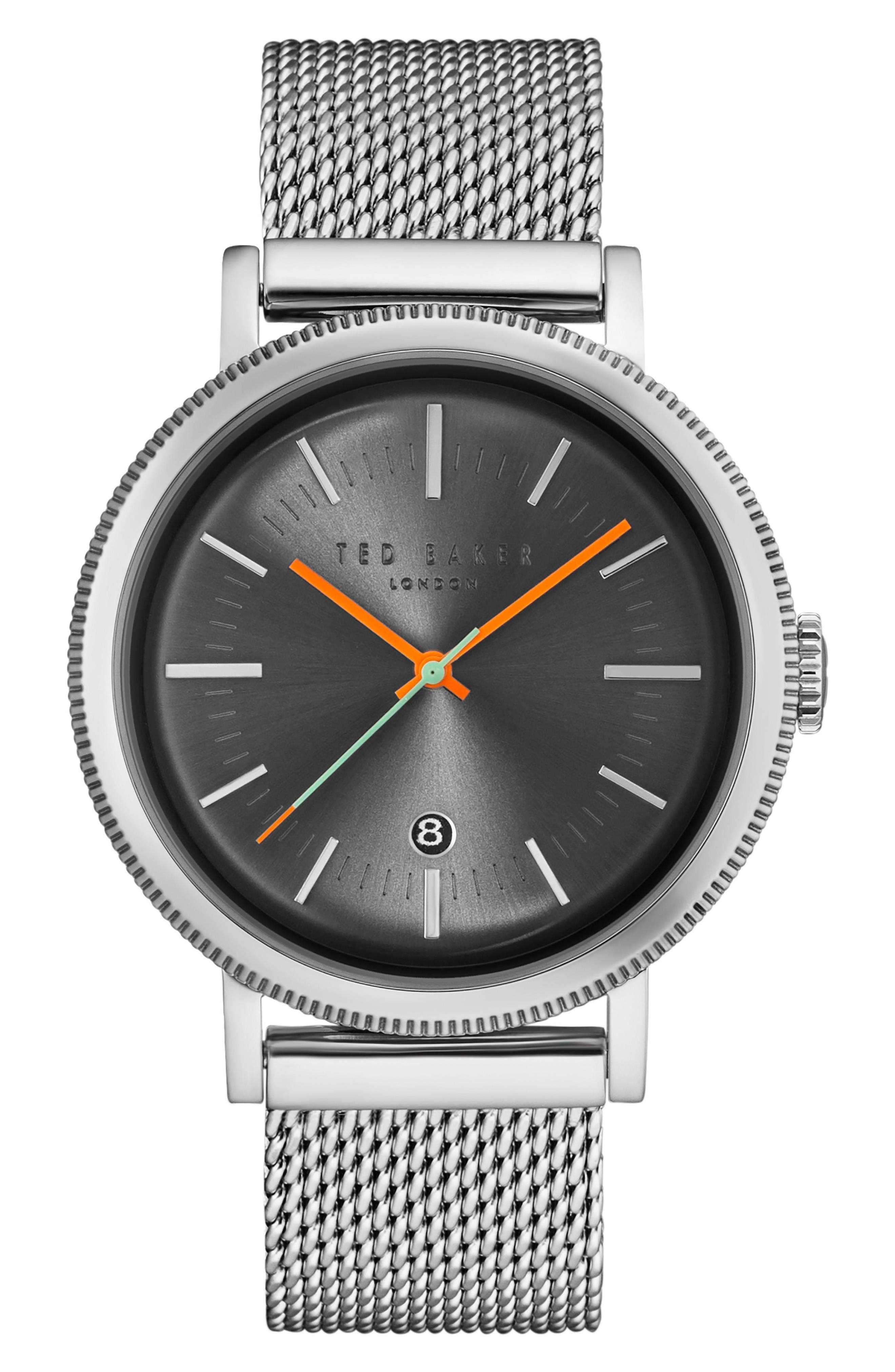 Connor Mesh Strap Watch, 42mm,                             Main thumbnail 1, color,                             Gunmetal/Silver
