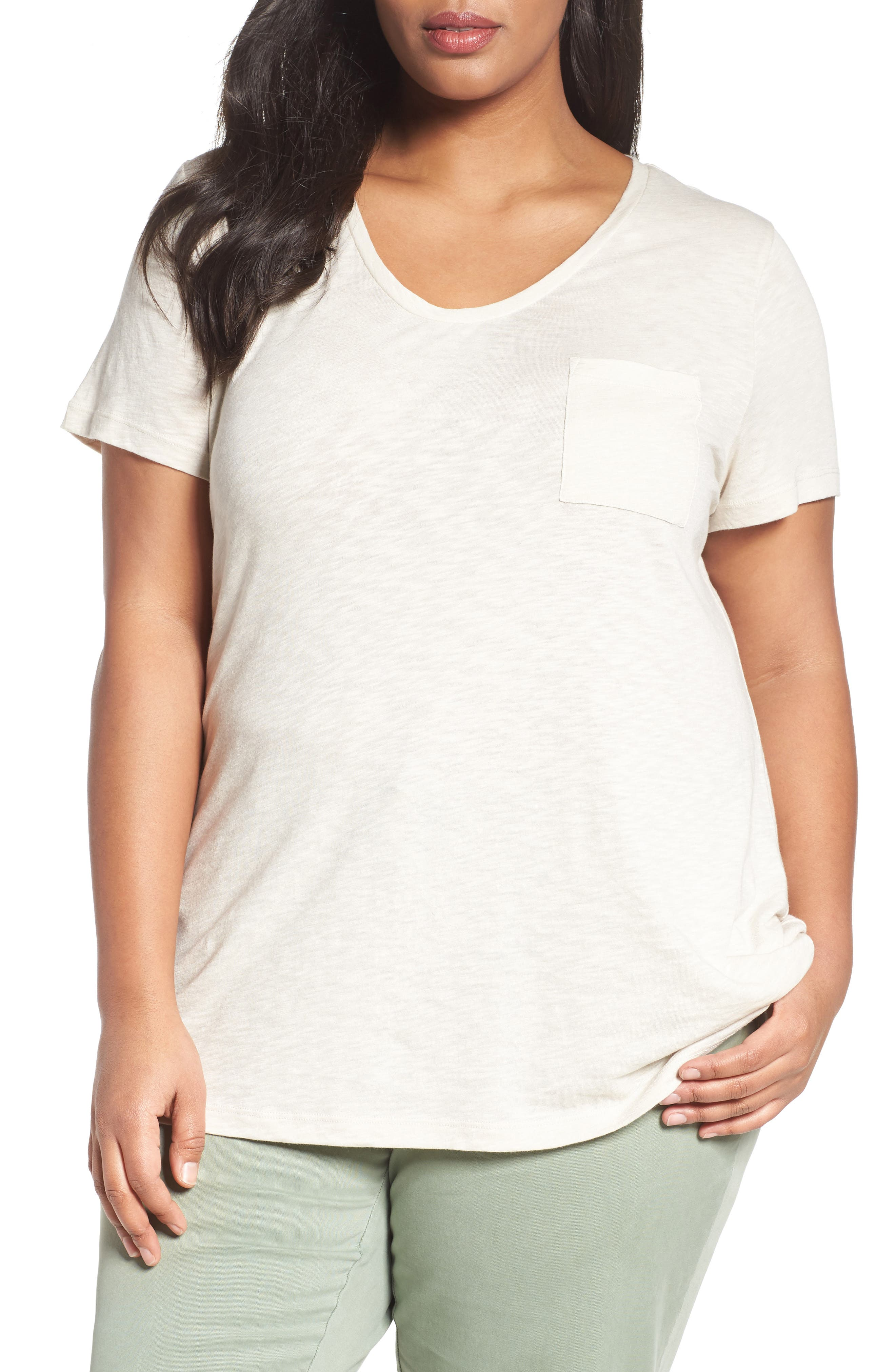 Rounded V-Neck Tee,                             Main thumbnail 1, color,                             Beige Rainy Day
