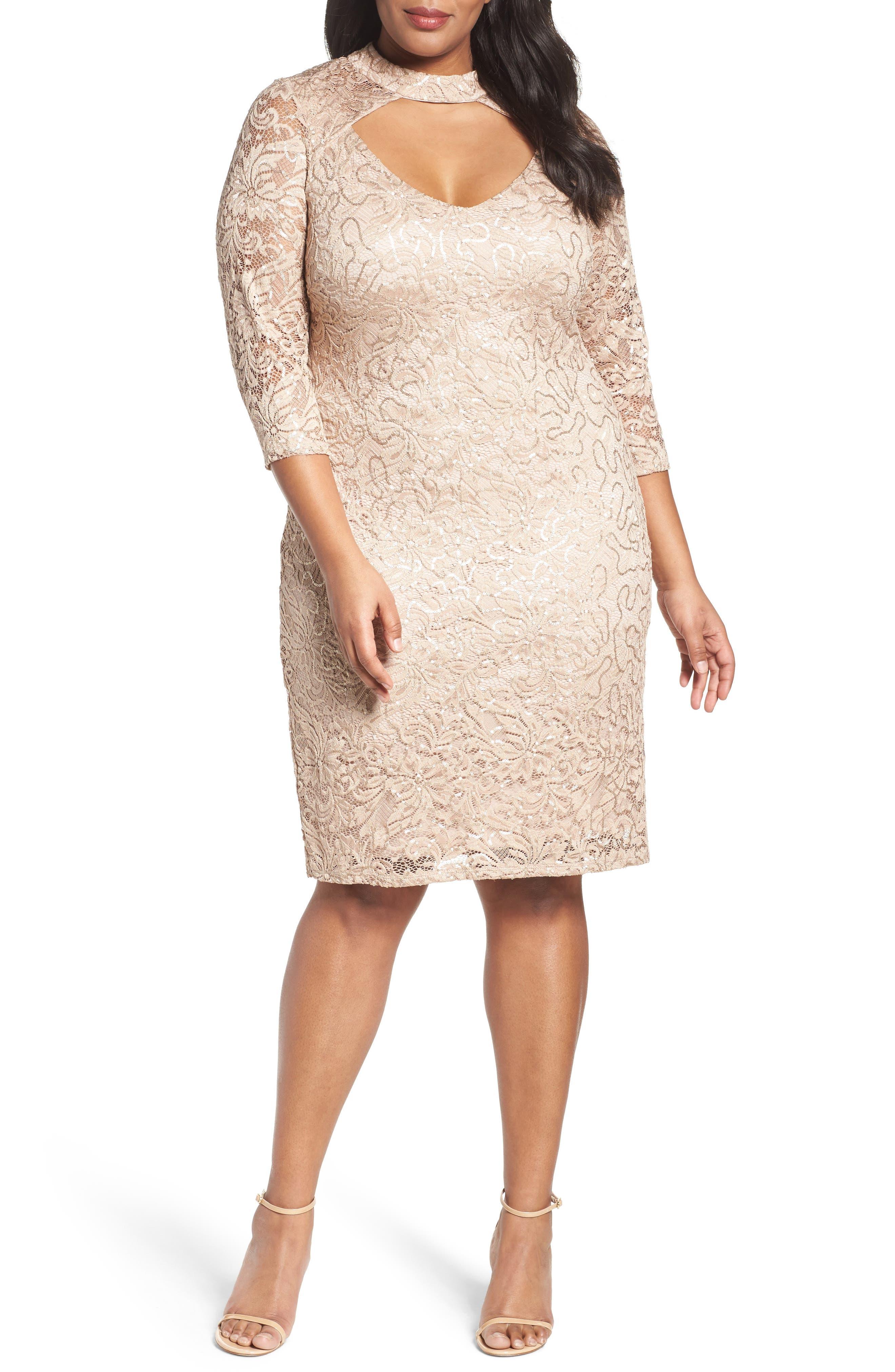Marina Cutout Sequin Lace Sheath Dress (Plus Size)