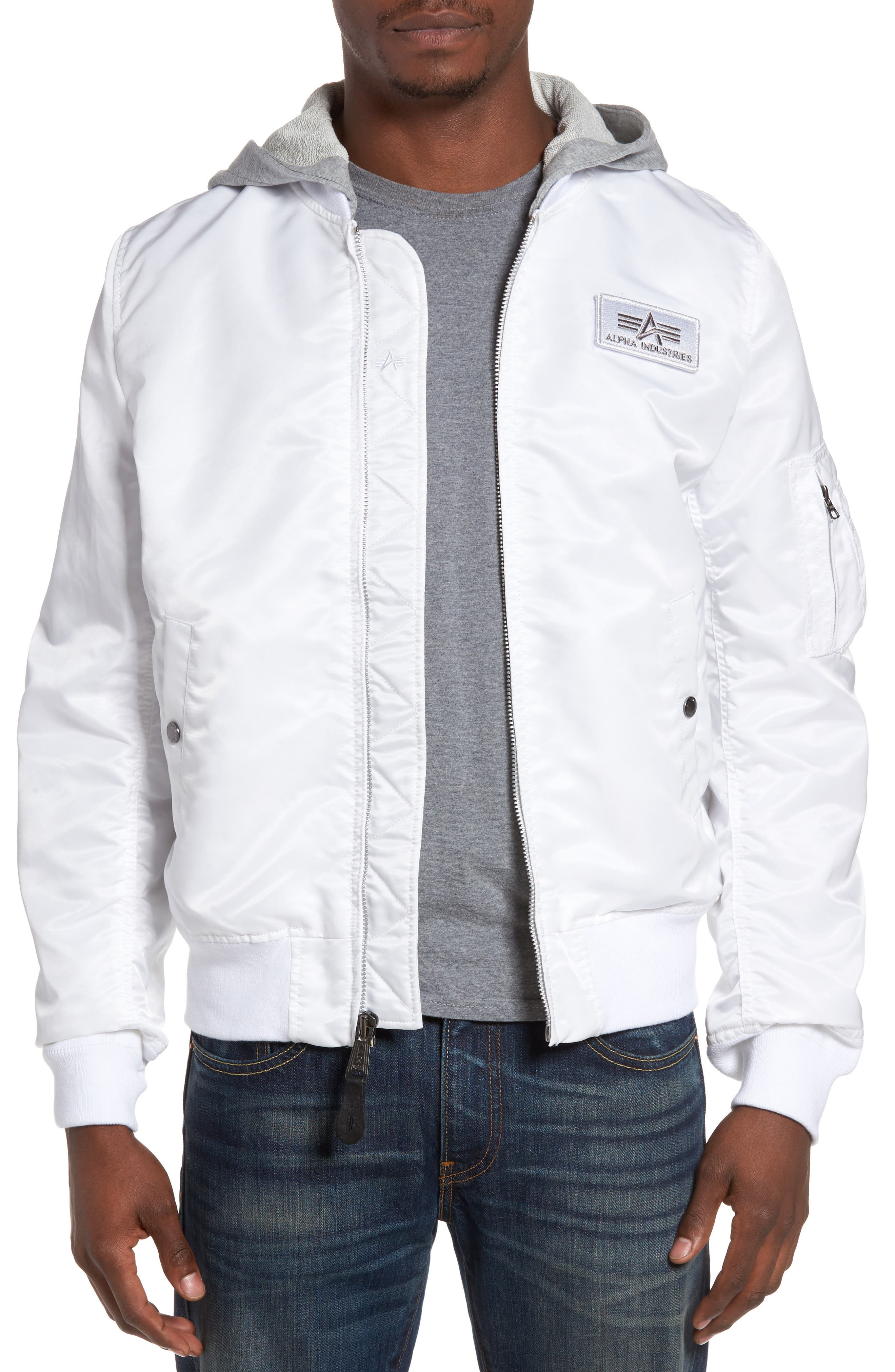 Lightweight L2-B Flight Jacket with Knit Hood,                         Main,                         color, White