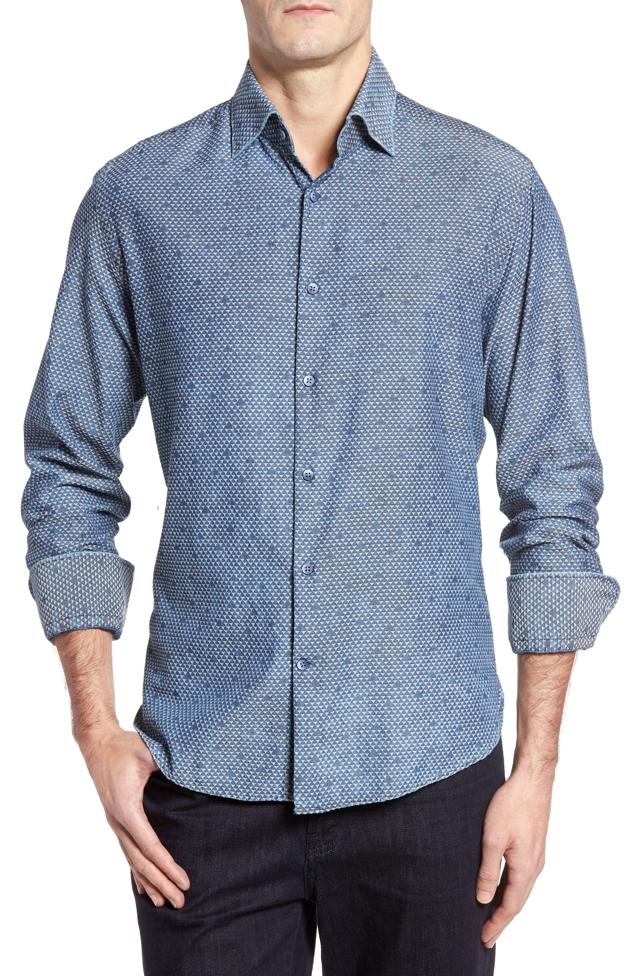 Alternate Image 1 Selected - Stone Rose Triangle Jacquard Sport Shirt