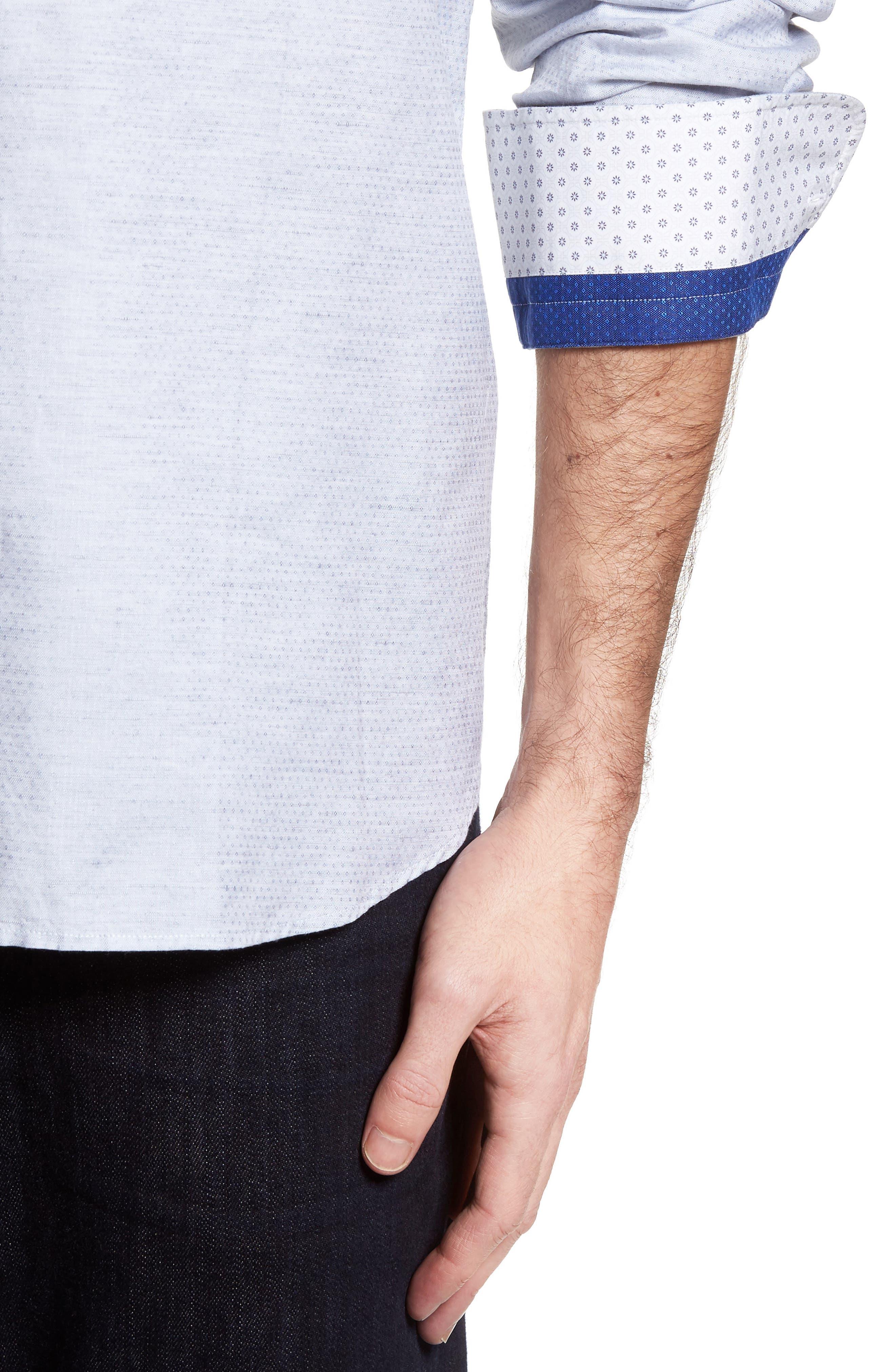 Alternate Image 4  - Stone Rose Dobby Cotton & Linen Sport Shirt
